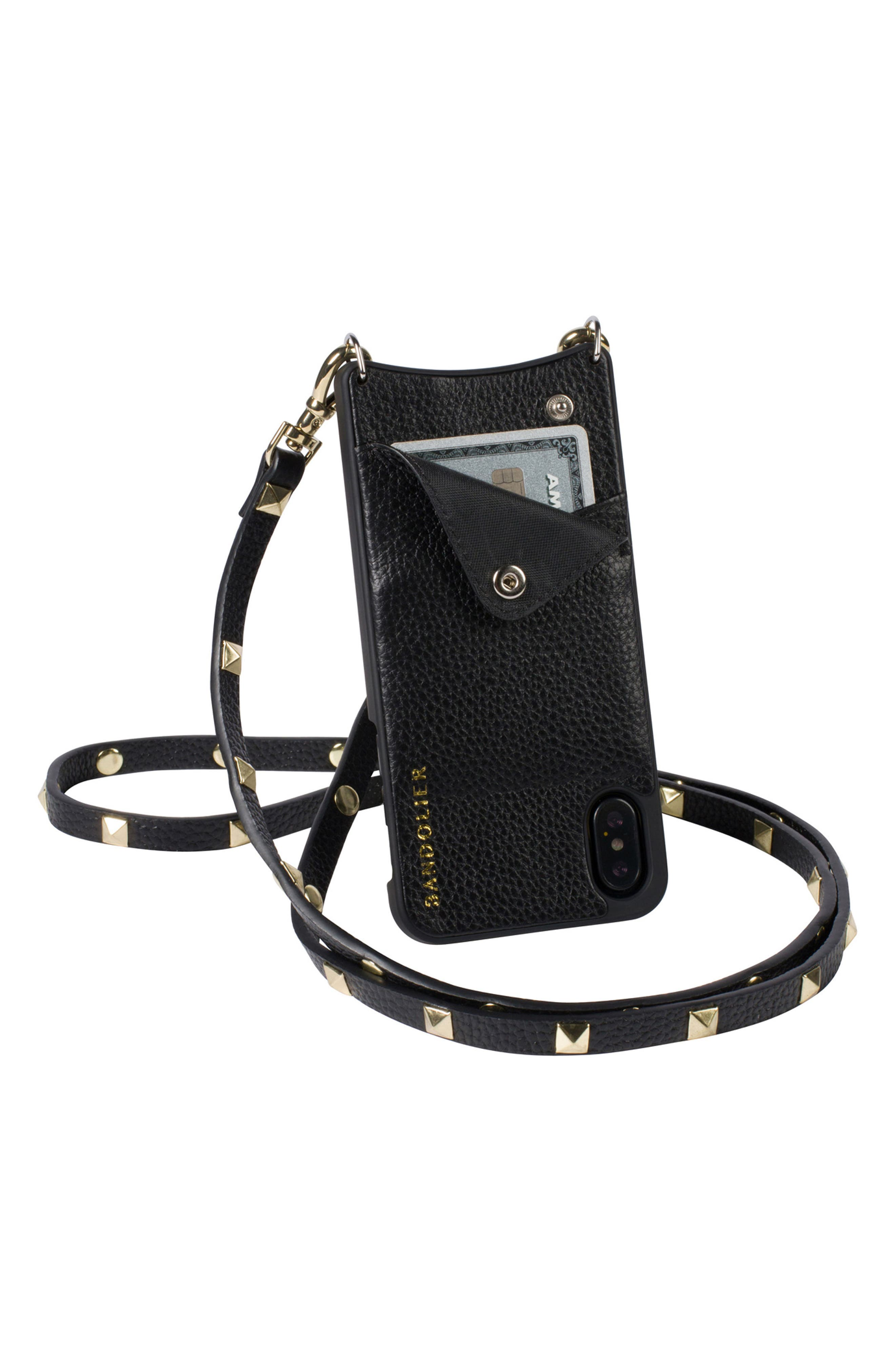 Sarah iPhone X Crossbody Case,                             Alternate thumbnail 3, color,                             New Black/ Gold