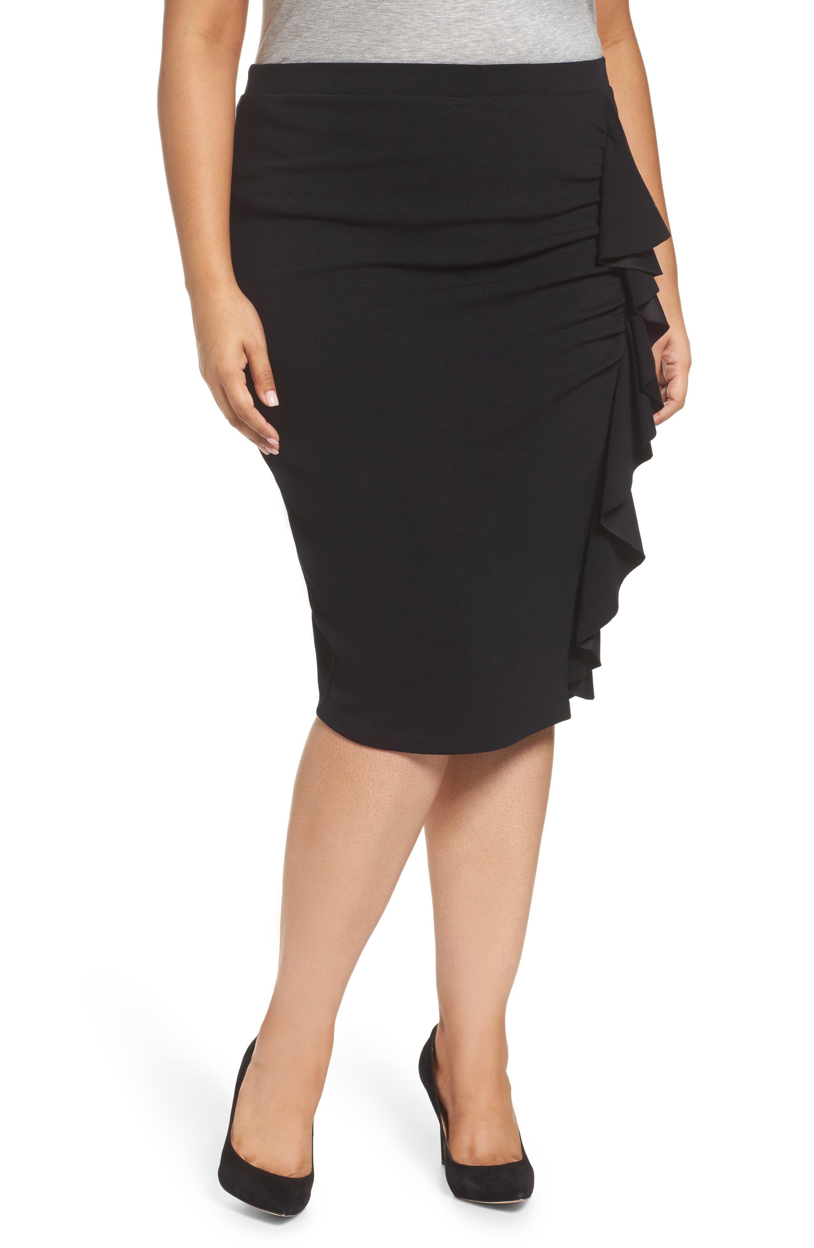 Sejour Ruffle Pencil Skirt (Plus Size)