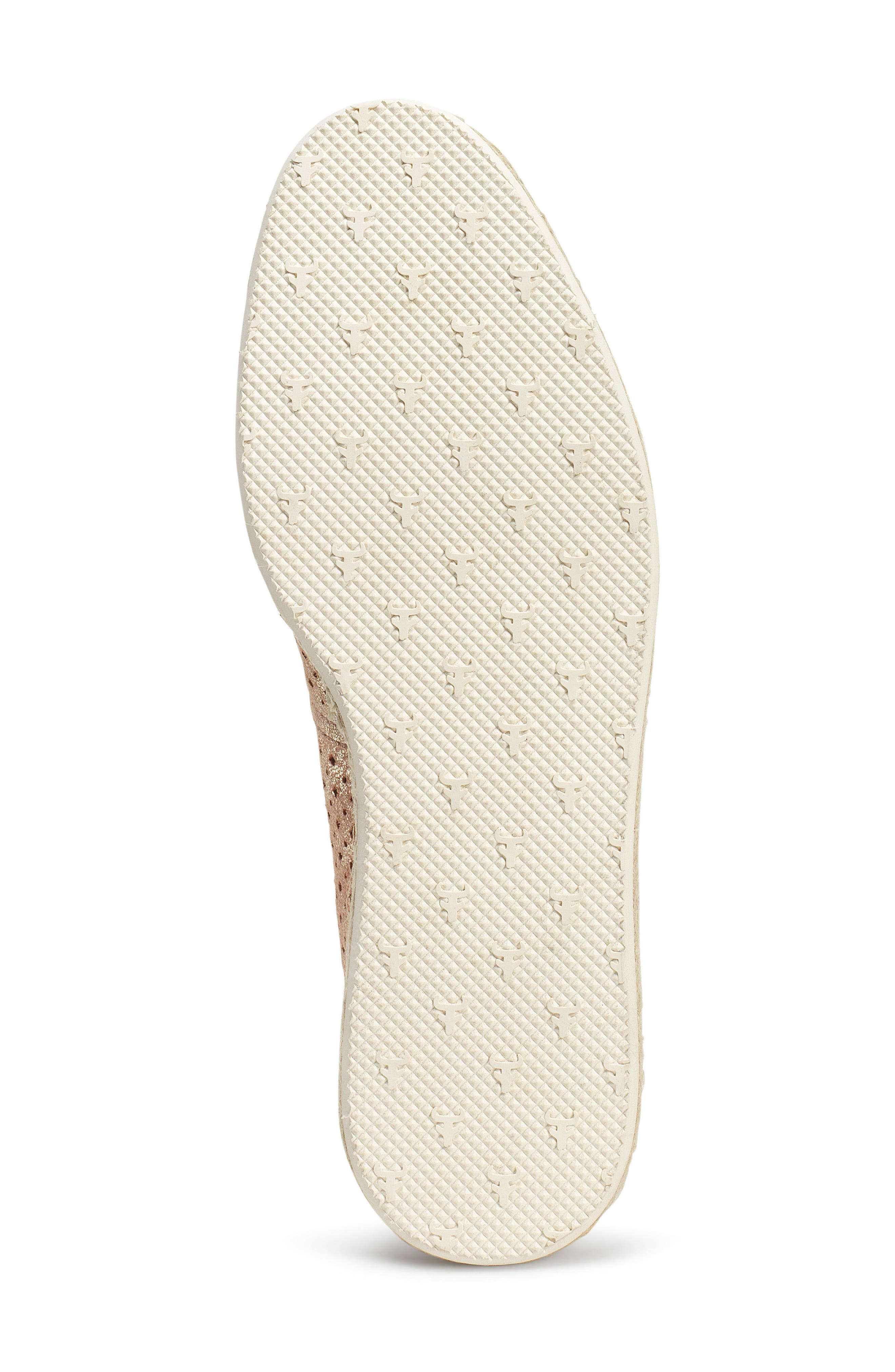 Paige Perforated Flat,                             Alternate thumbnail 6, color,                             Blush Metallic Suede