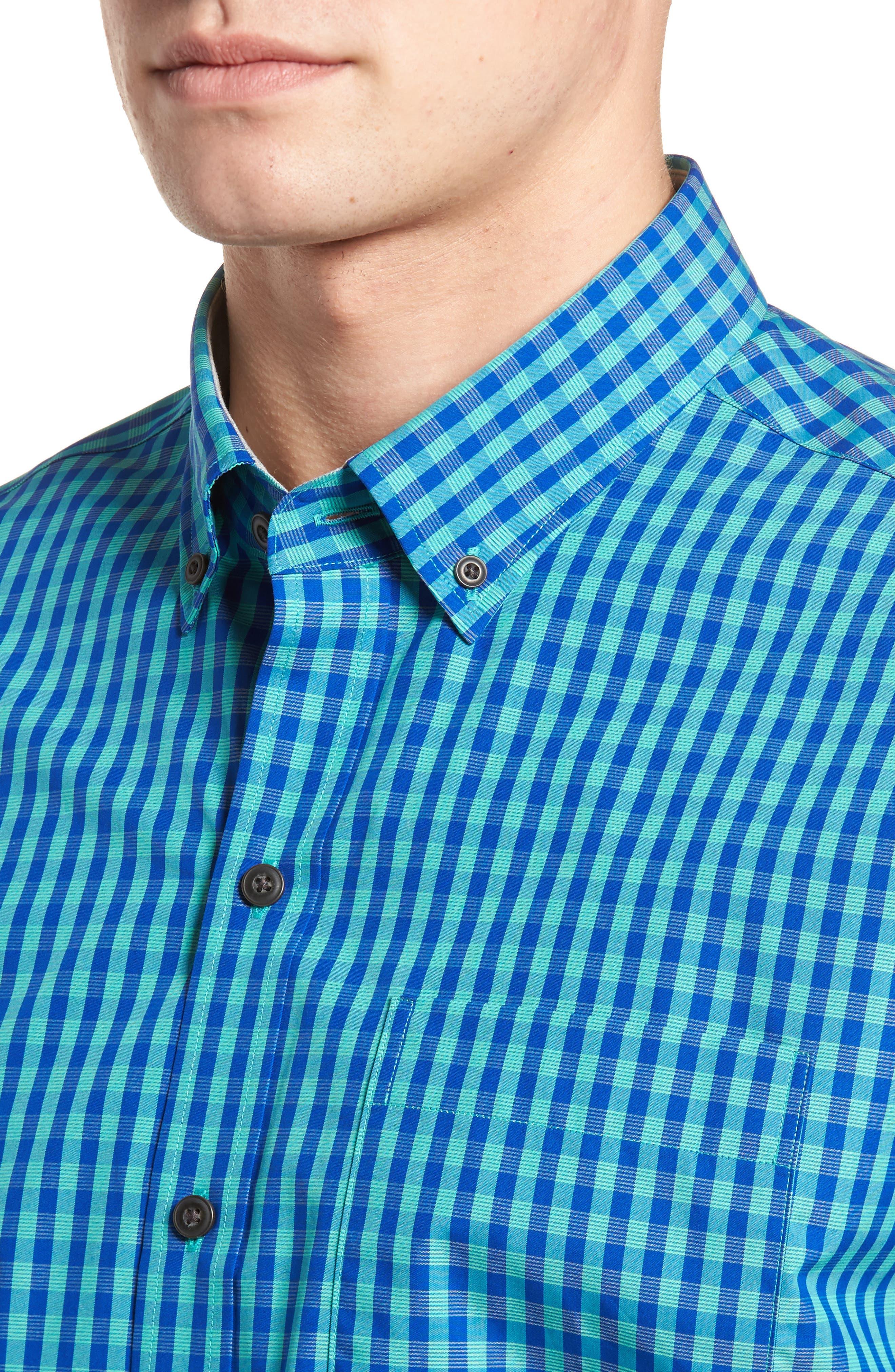 Myles Non-Iron Check Sport Shirt,                             Alternate thumbnail 4, color,                             Newport