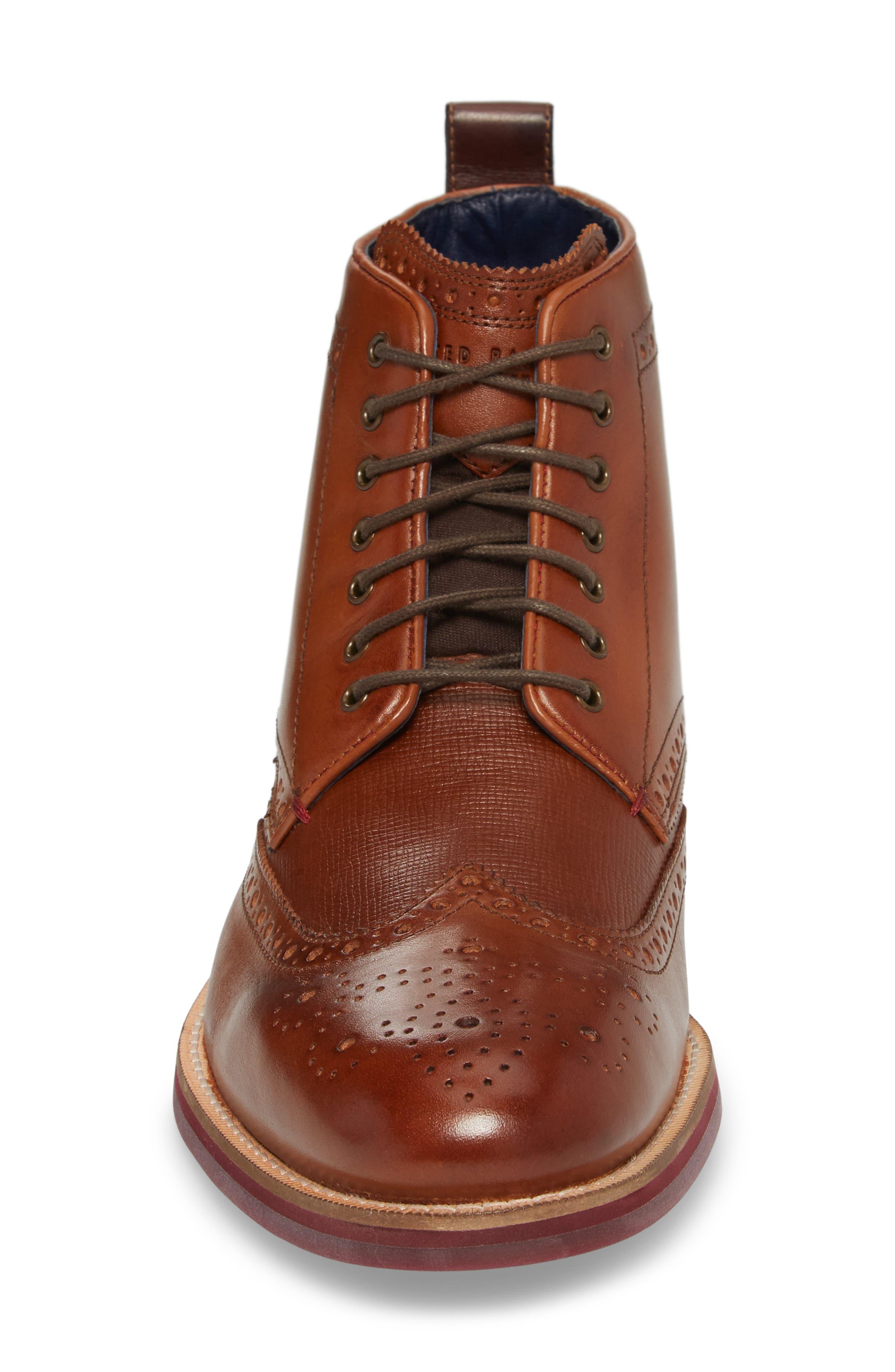 Hjenno Wingtip Boot,                             Alternate thumbnail 4, color,                             Tan Leather