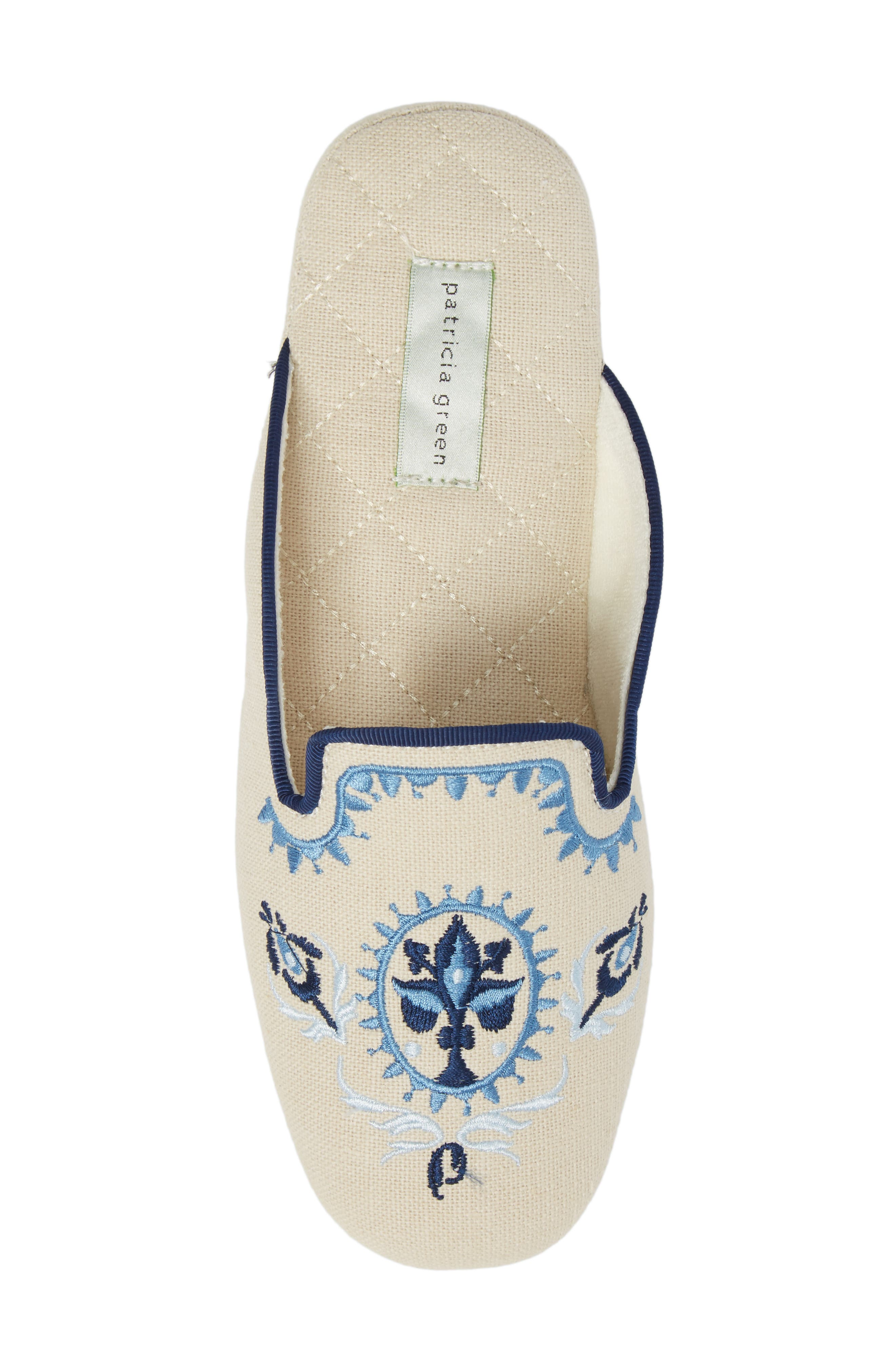 Rosa Embroidered Slipper,                             Alternate thumbnail 5, color,                             Blue Fabric