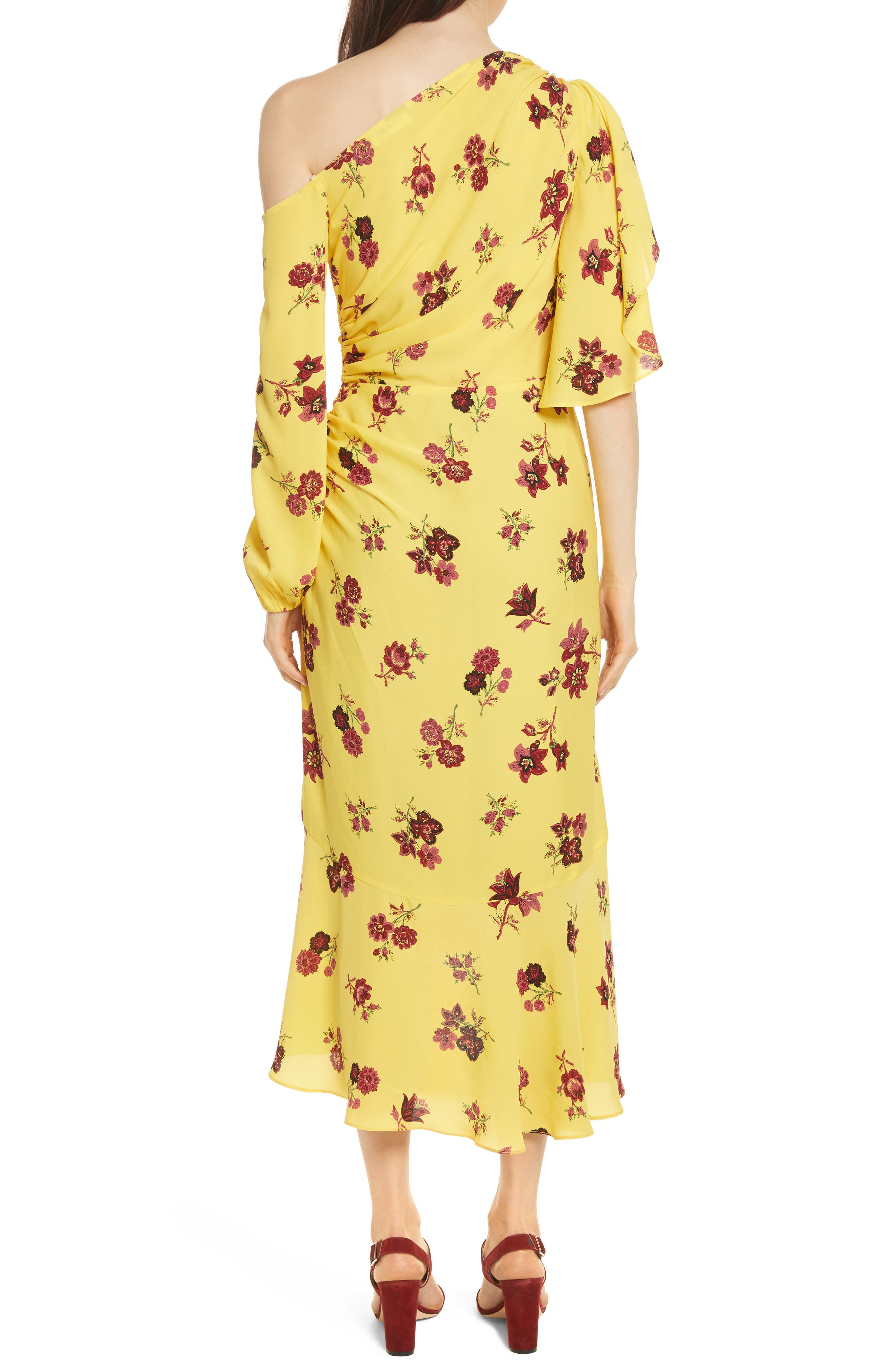 Florence One-Shoulder Silk Dress,                             Alternate thumbnail 3, color,                             Yellow