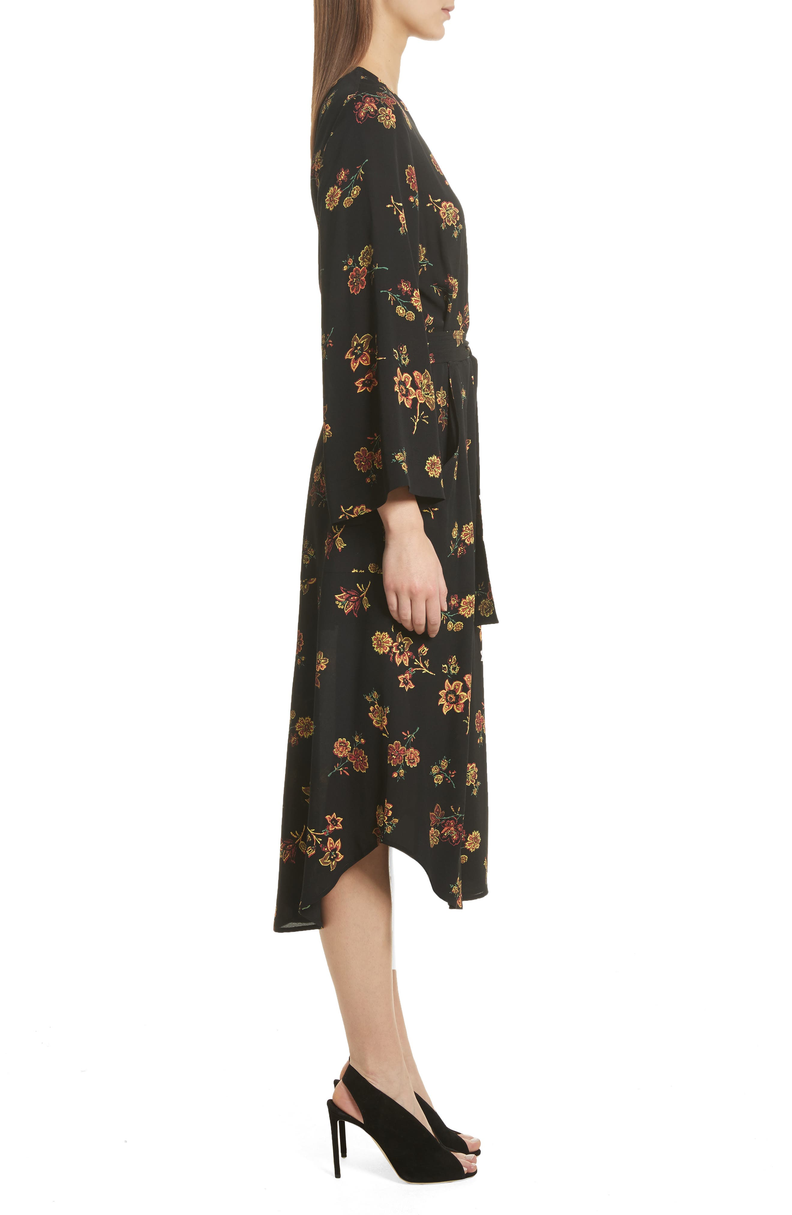 Wilma Silk Wrap Dress,                             Alternate thumbnail 3, color,                             Black