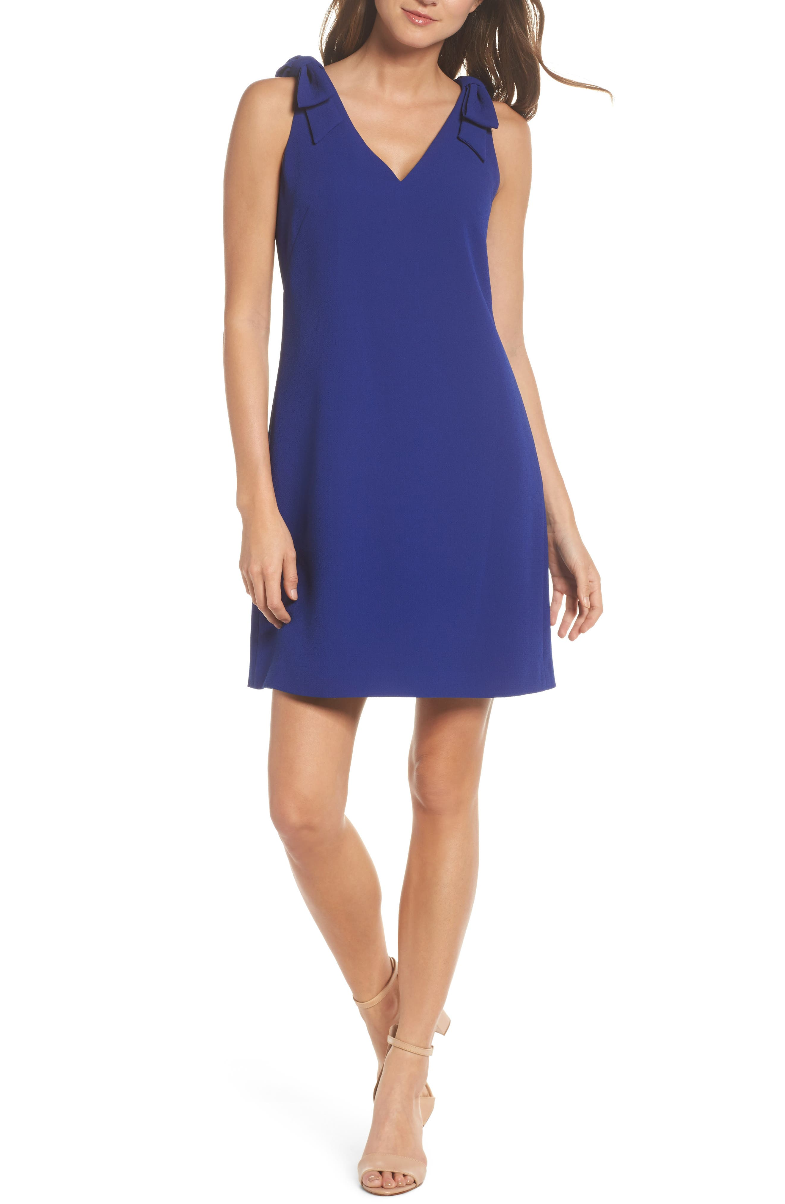 Bow Sheath Dress,                             Main thumbnail 1, color,                             Cobalt