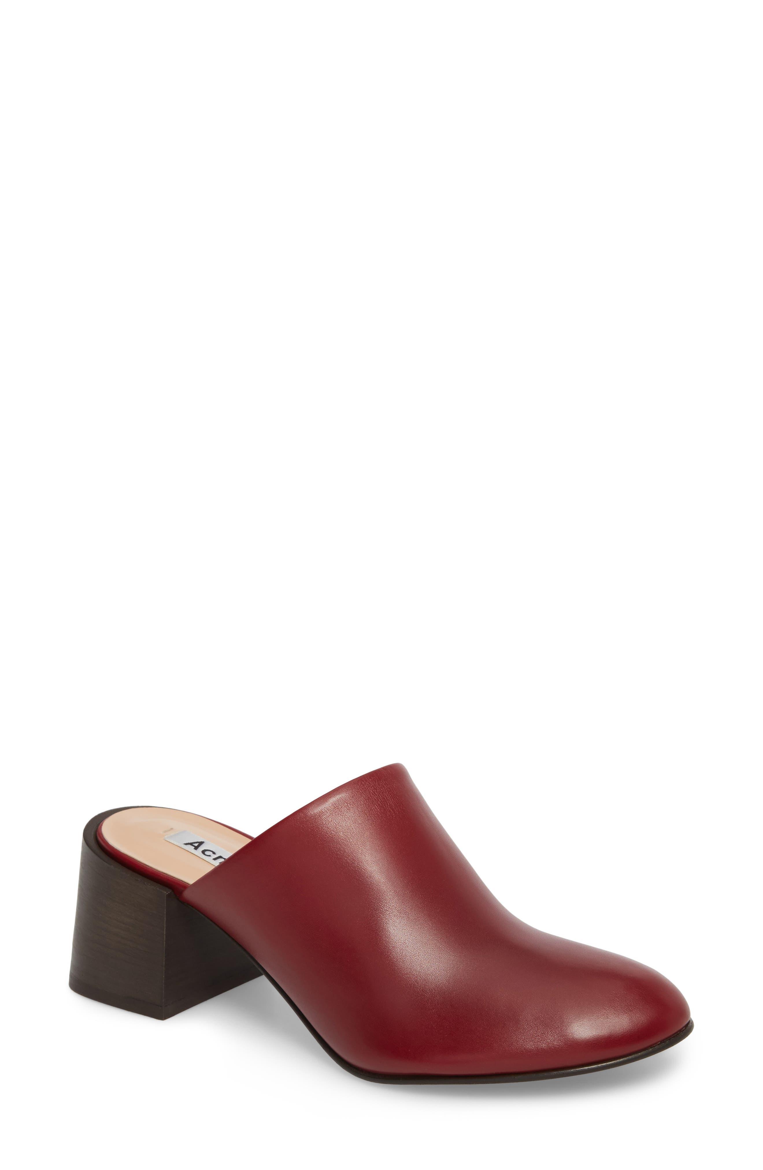 Sil Block Heel Mule,                             Main thumbnail 1, color,                             Red Wine