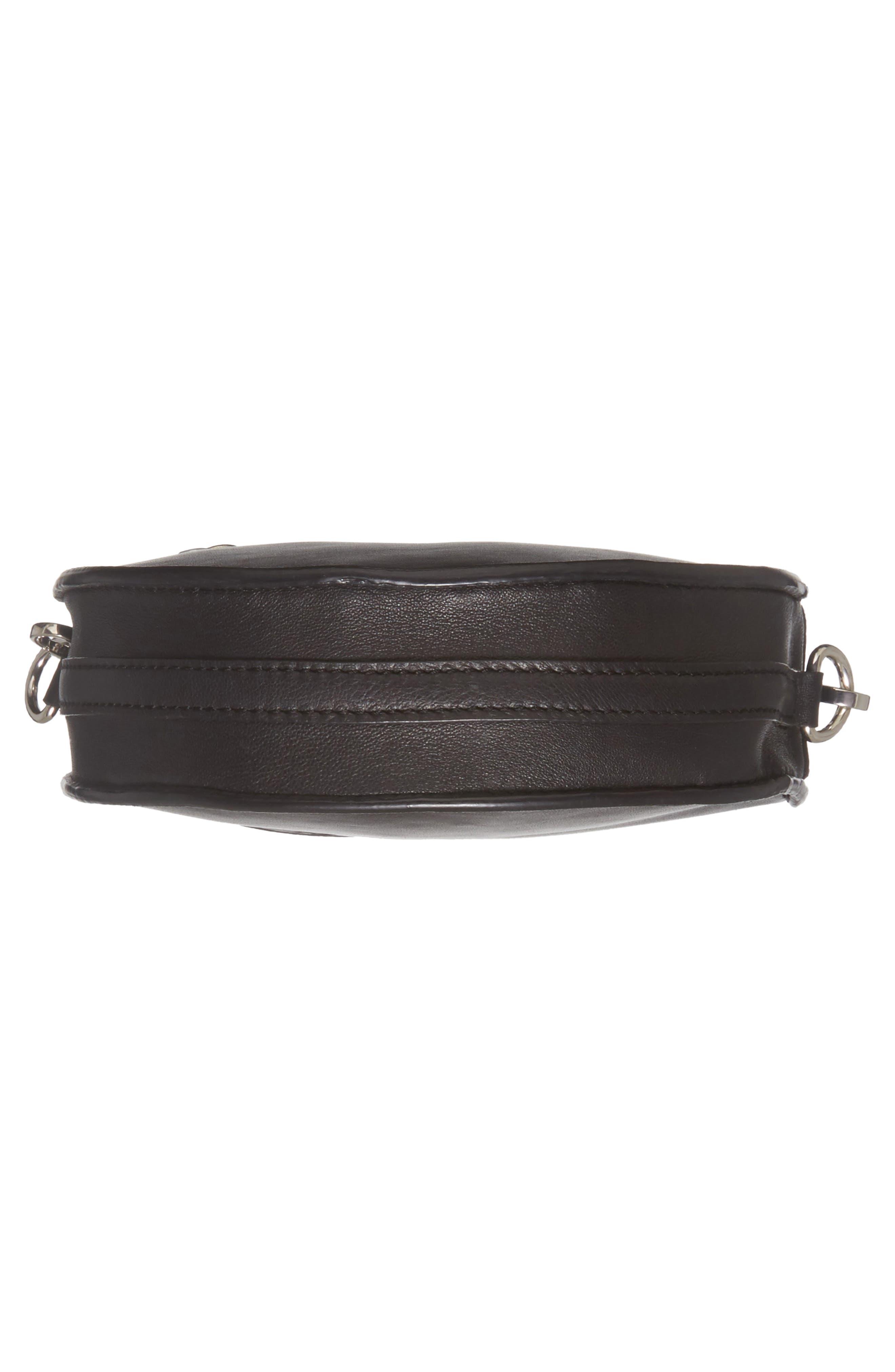 Premium Leather Mini Circle Crossbody Bag,                             Alternate thumbnail 6, color,                             Black