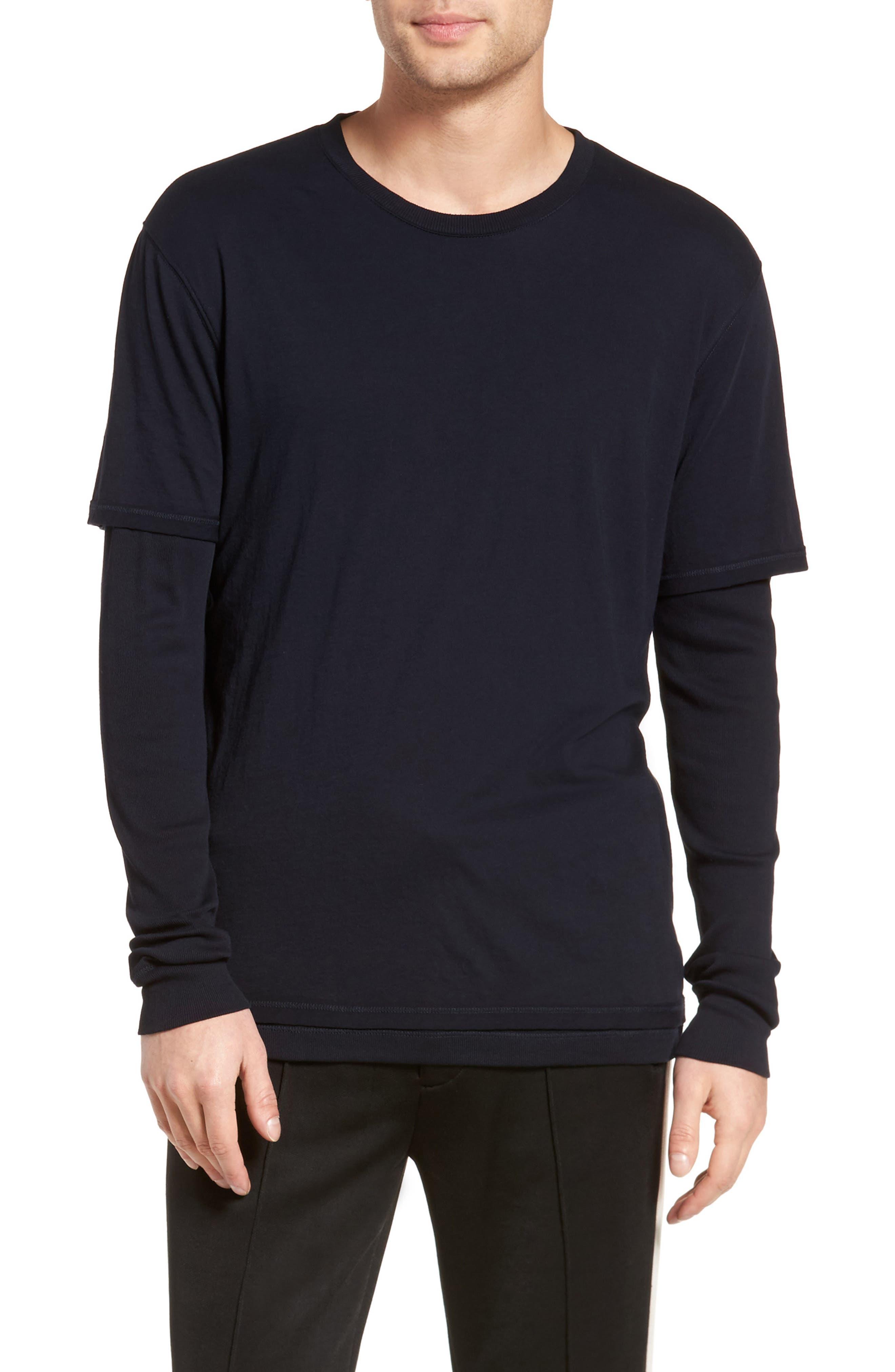 Layered Long Sleeve T-Shirt,                             Main thumbnail 1, color,                             Black