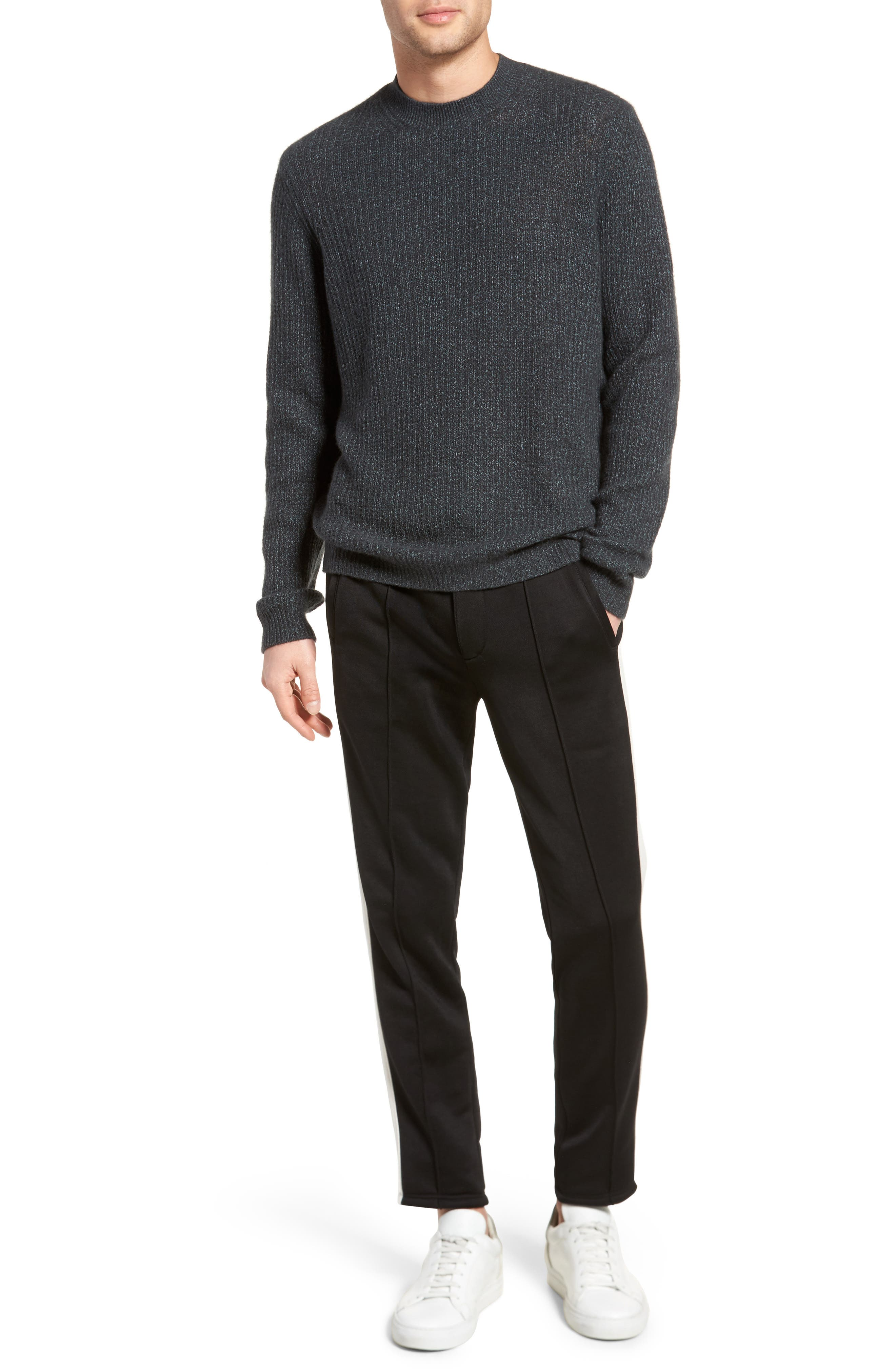 Thermal Knit Crewneck Cashmere Sweater,                             Alternate thumbnail 7, color,                             Beetle/ Mint