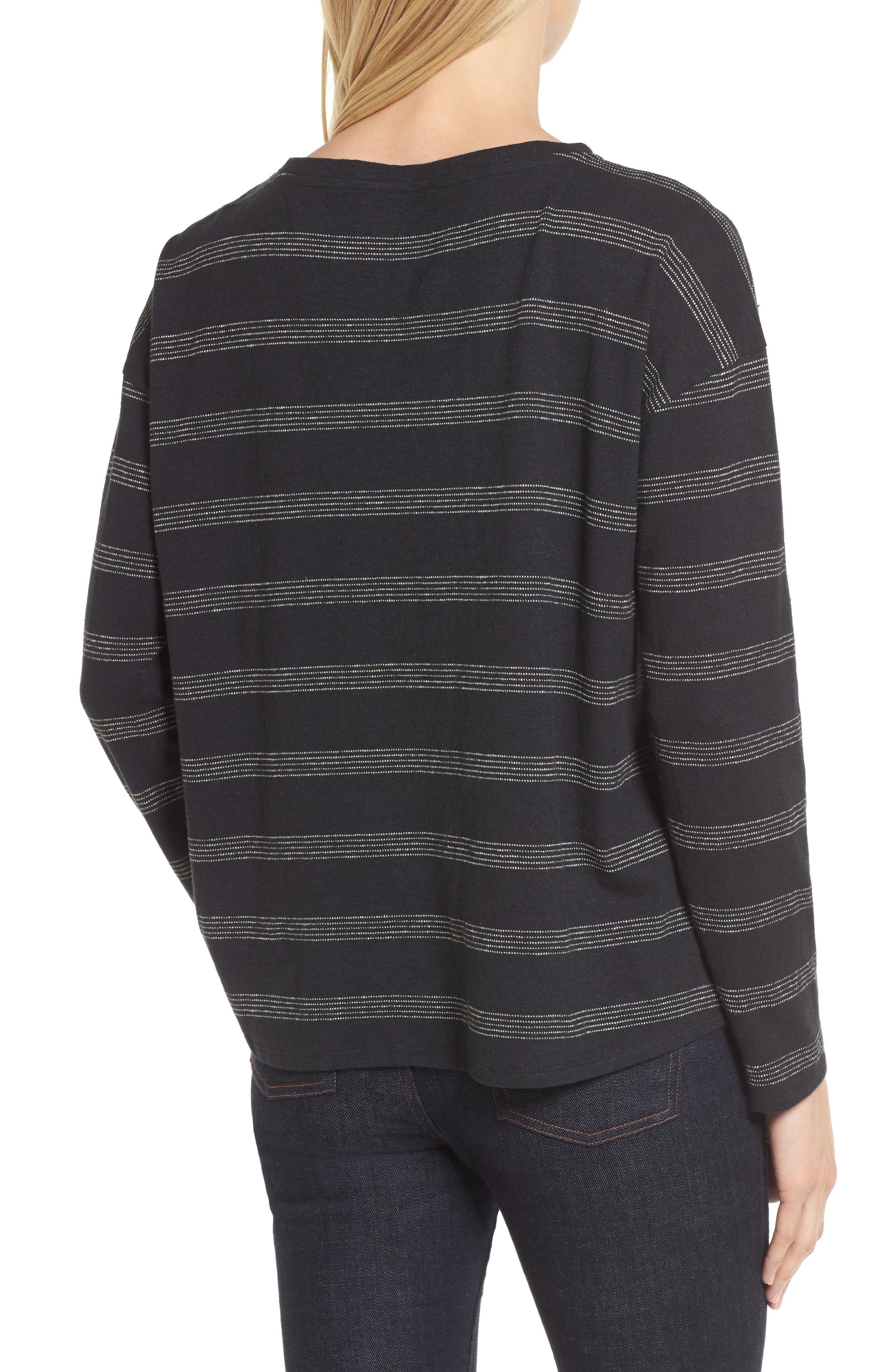 Stripe Hemp & Organic Cotton Top,                             Alternate thumbnail 2, color,                             Black