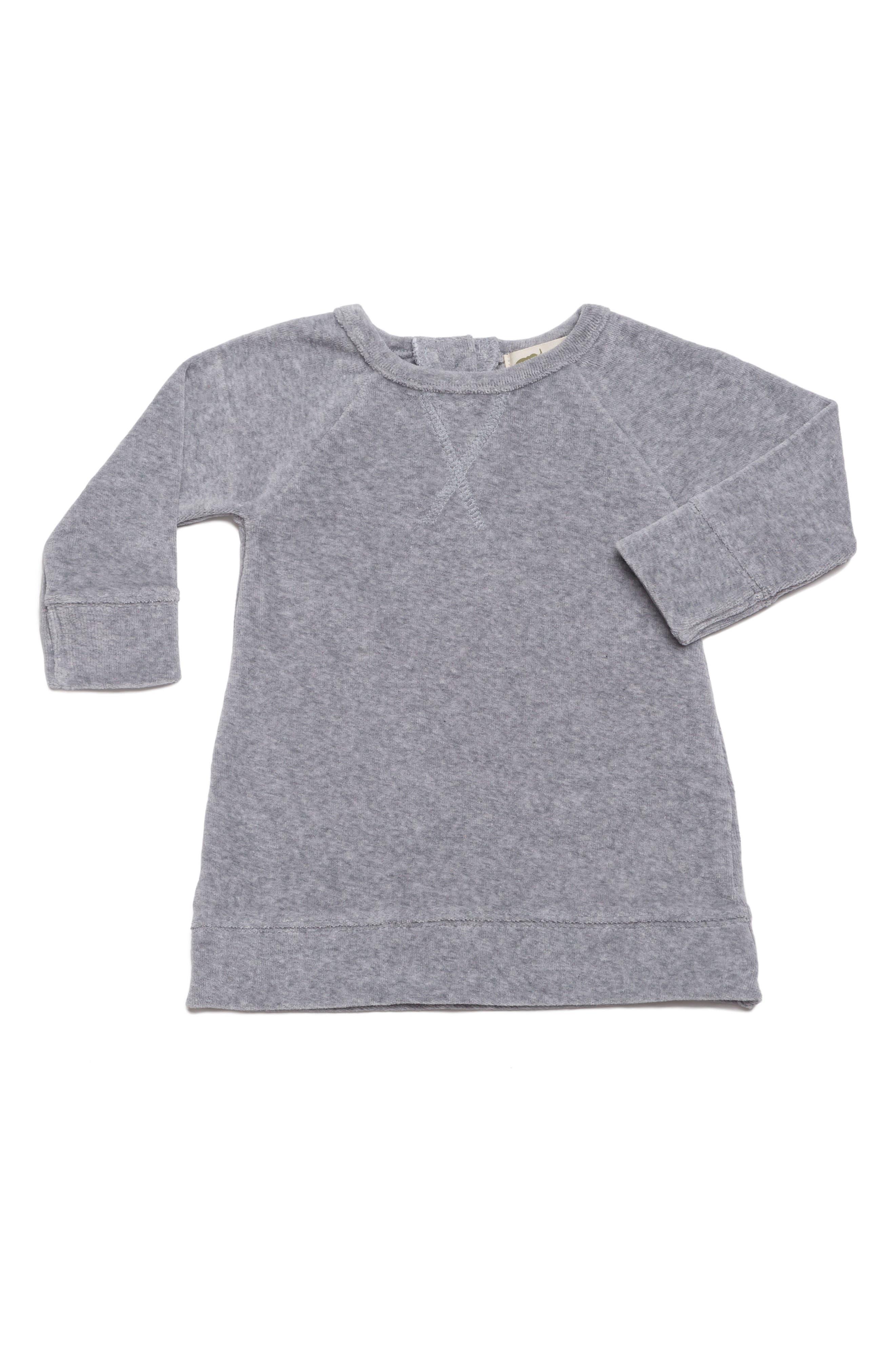 Organic Cotton Velour Sweatshirt Dress,                         Main,                         color, Heather Grey