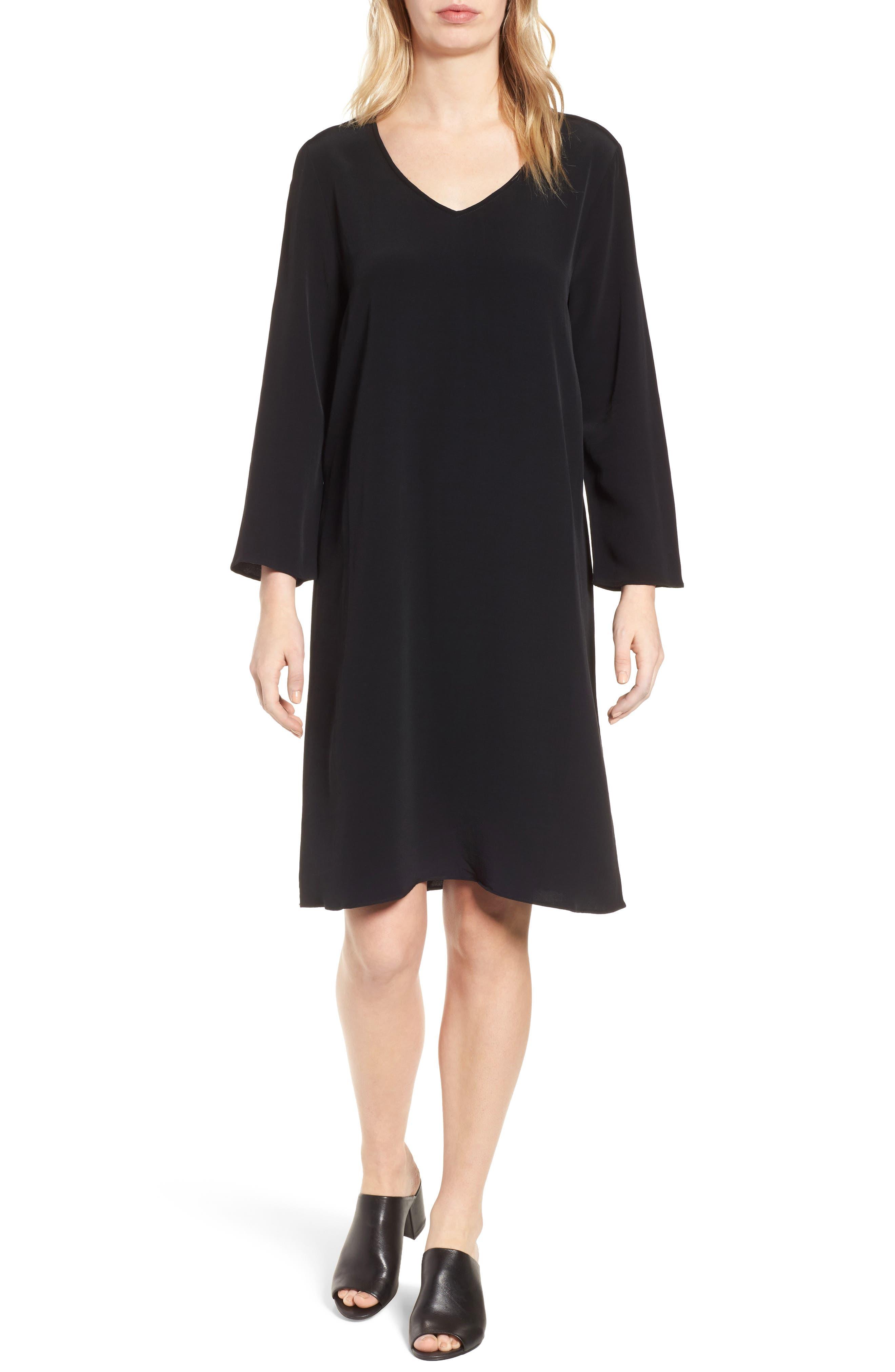 V-Neck Shift Dress,                         Main,                         color, Black