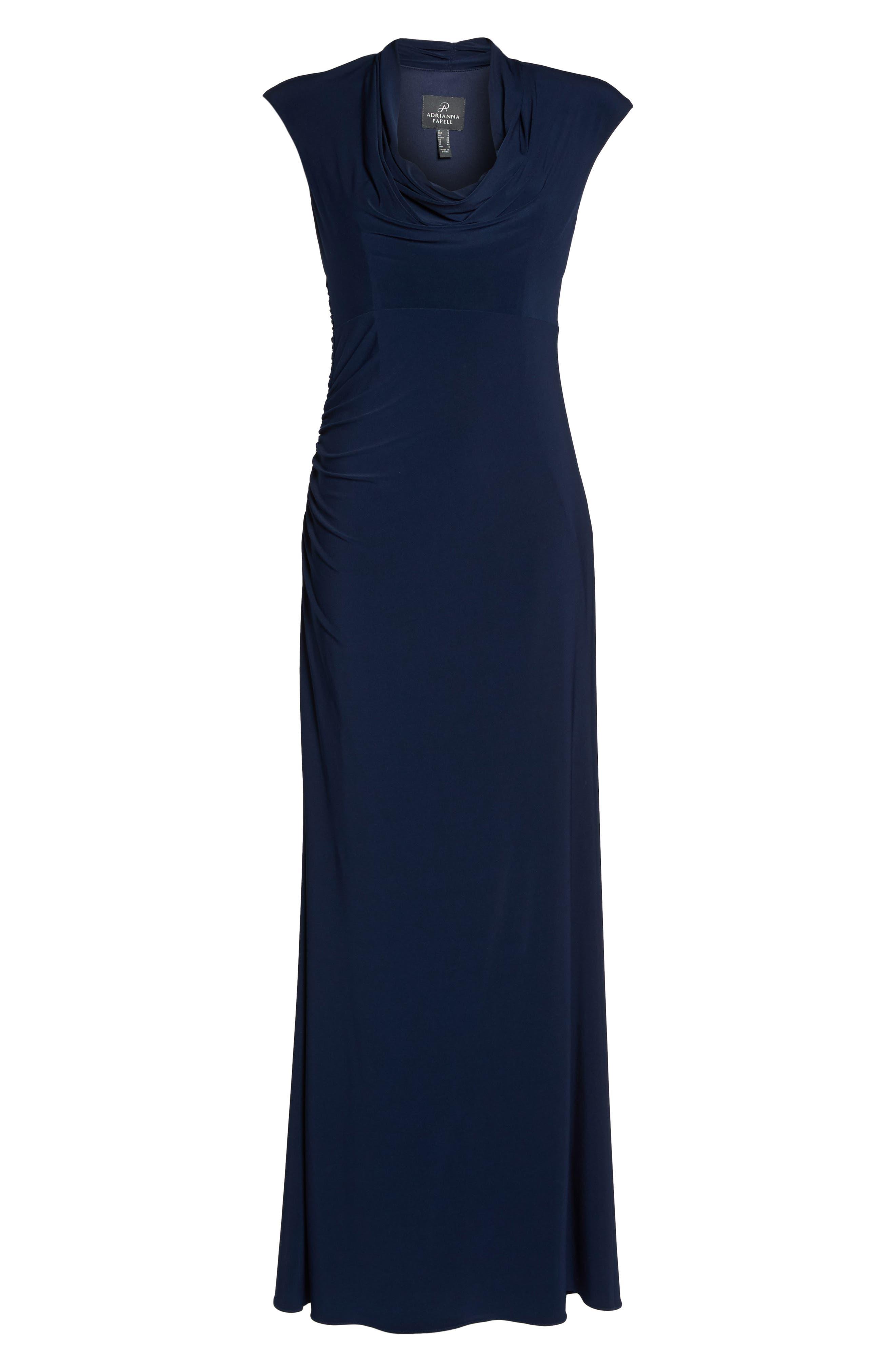 Draped Jersey Maxi Dress,                             Alternate thumbnail 6, color,                             Midnight