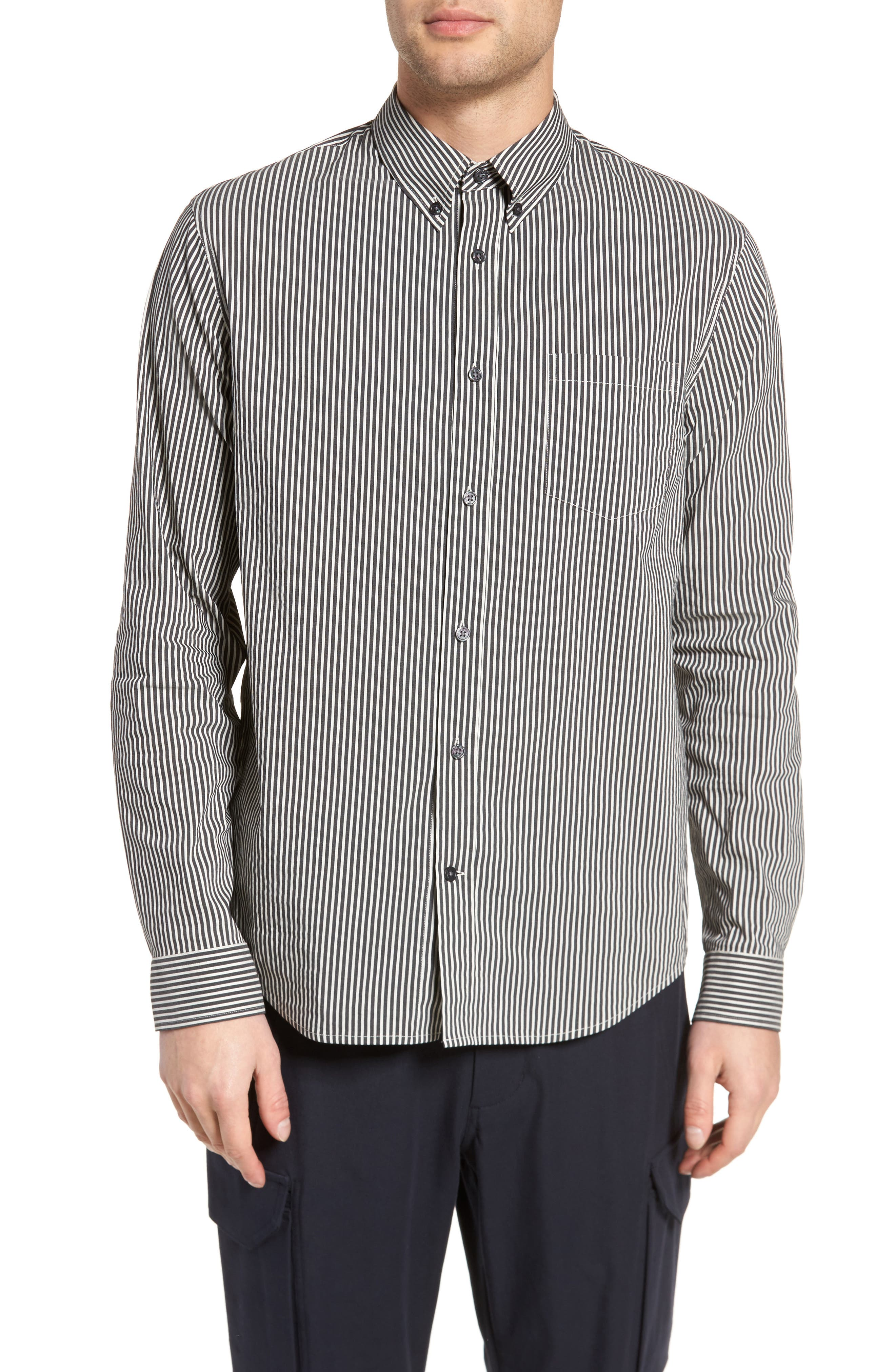 Bar Stripe Sport Shirt,                         Main,                         color, Black/ Stormy White