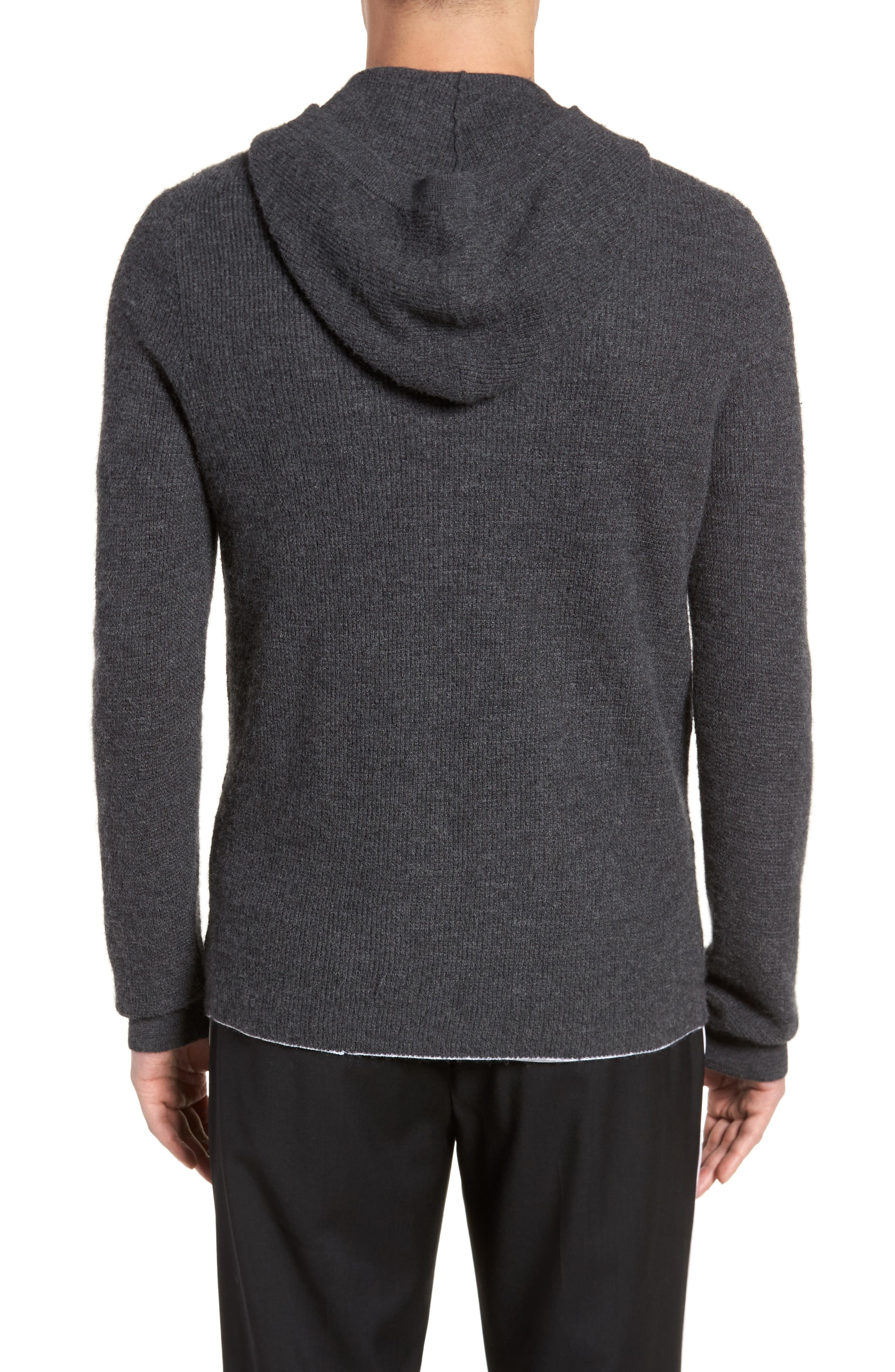 Alternate Image 2  - Vince Thermal Knit Cashmere Hooded Sweater