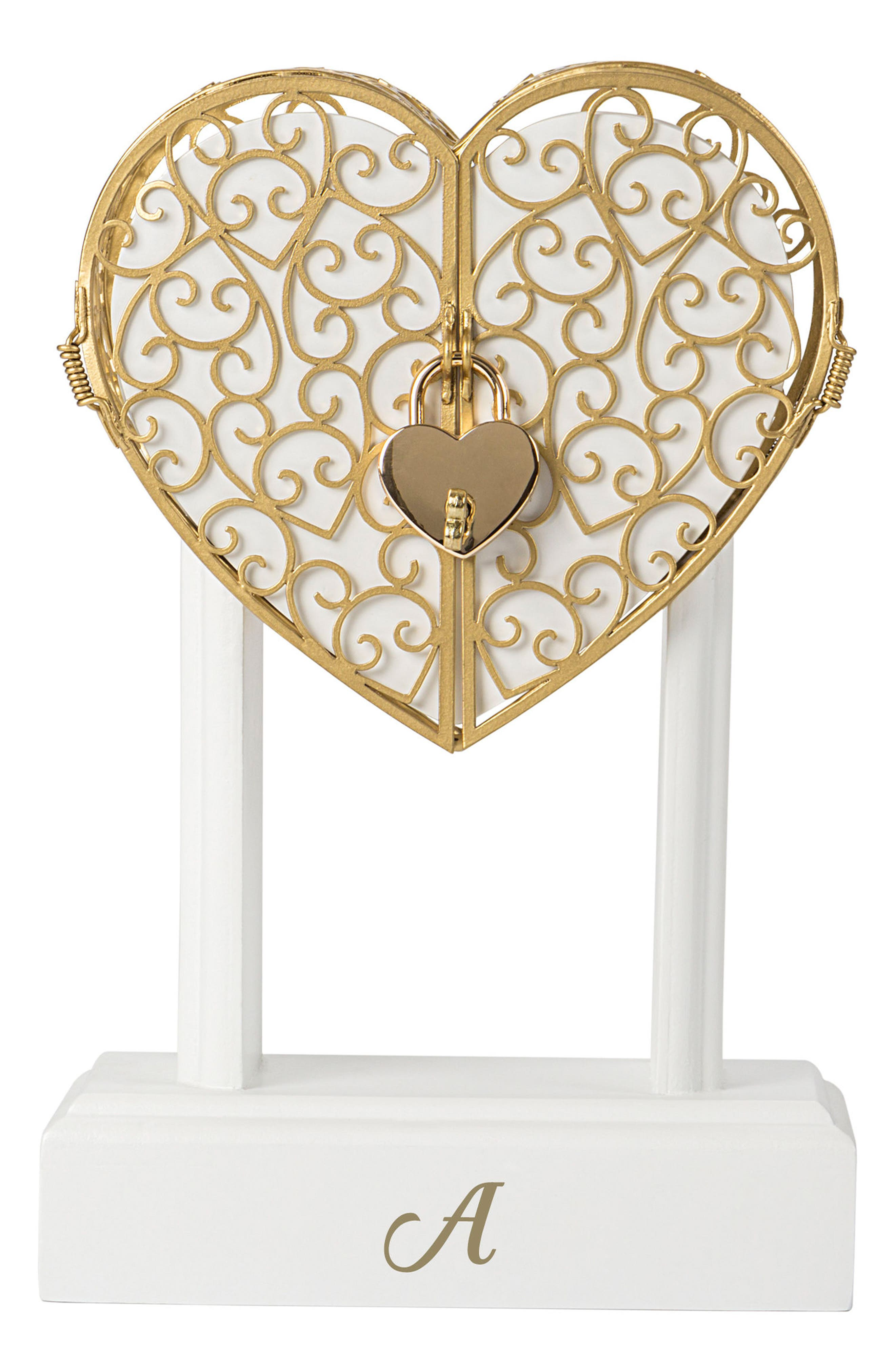 Key To My Heart Monogram Vow Unity Keepsake Box,                         Main,                         color, Gold - A