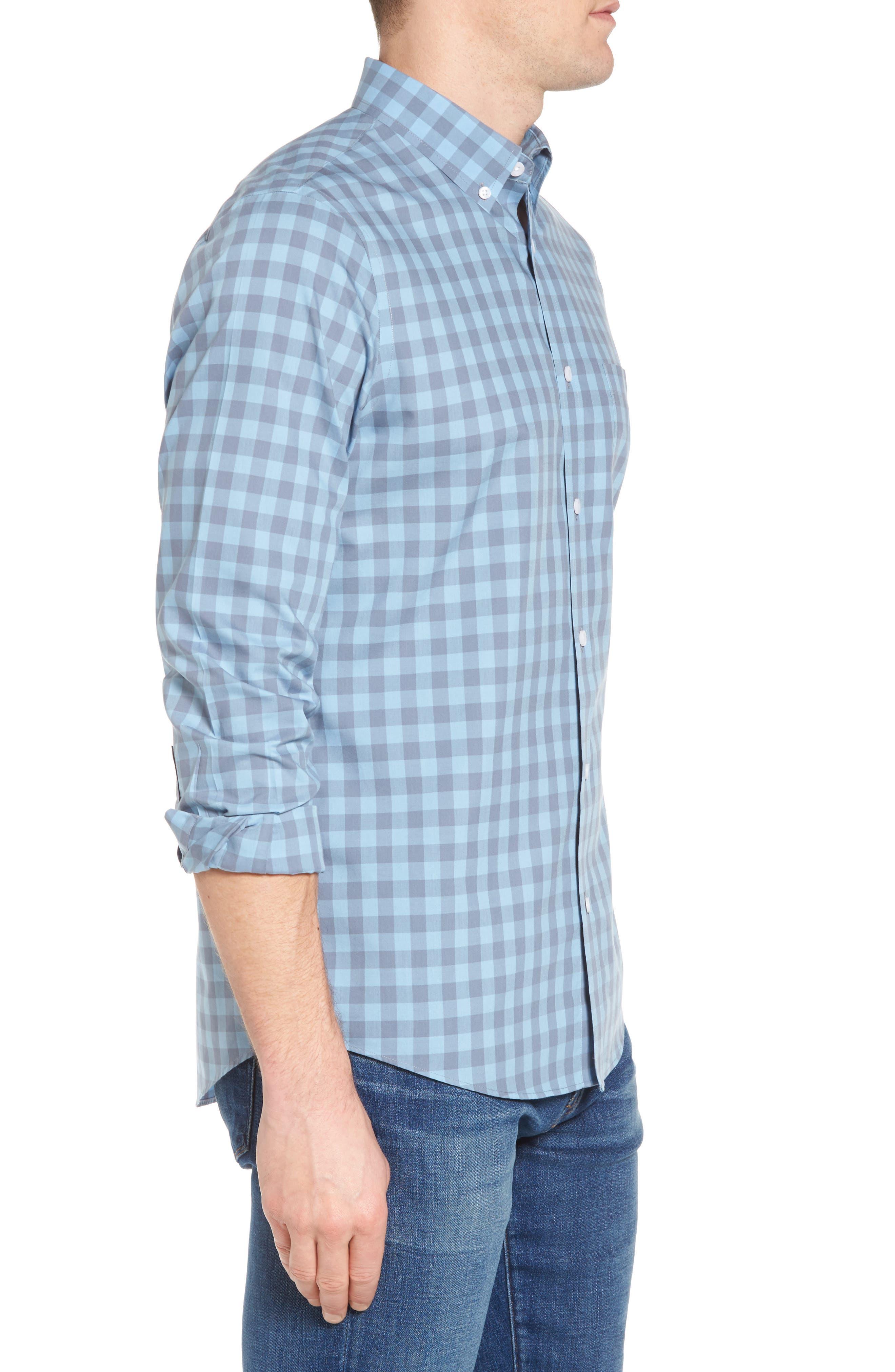 Regular Fit Gingham Sport Shirt,                             Alternate thumbnail 4, color,                             Blue Dusk Grey Gingham