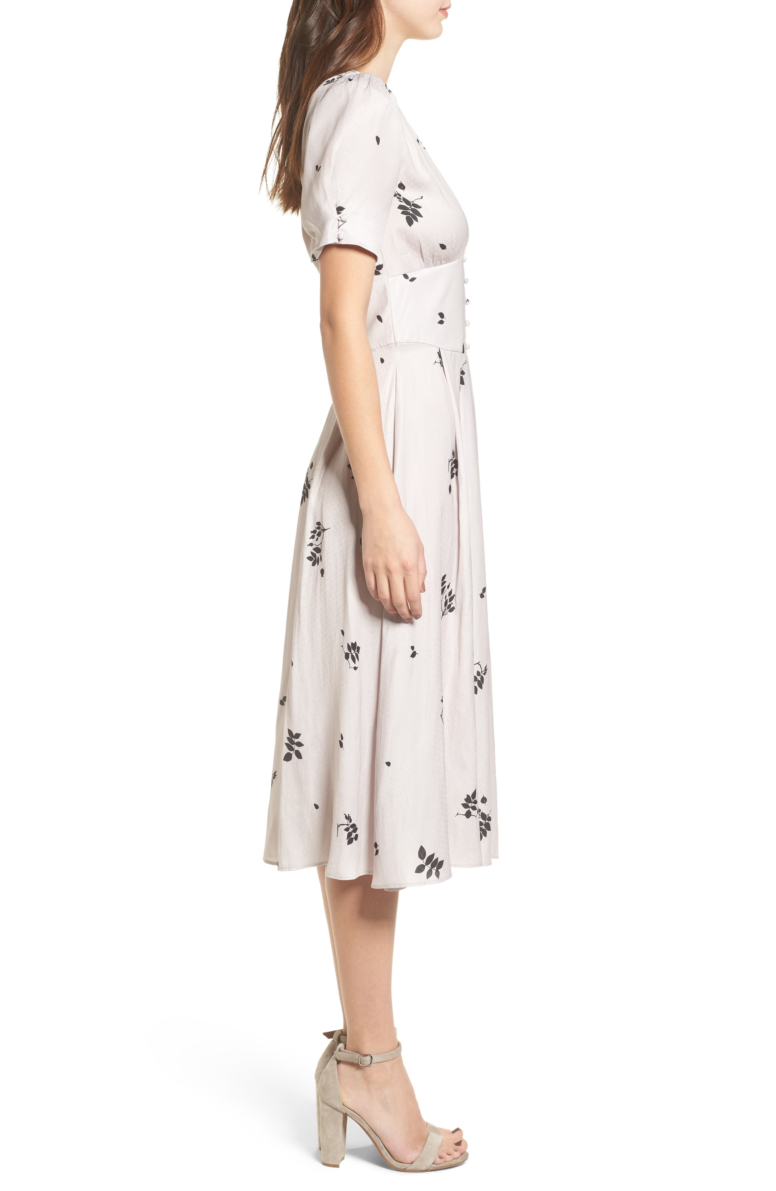 Textured Fit & Flare Midi Dress,                             Alternate thumbnail 4, color,                             Pink Hush Falling Leaves