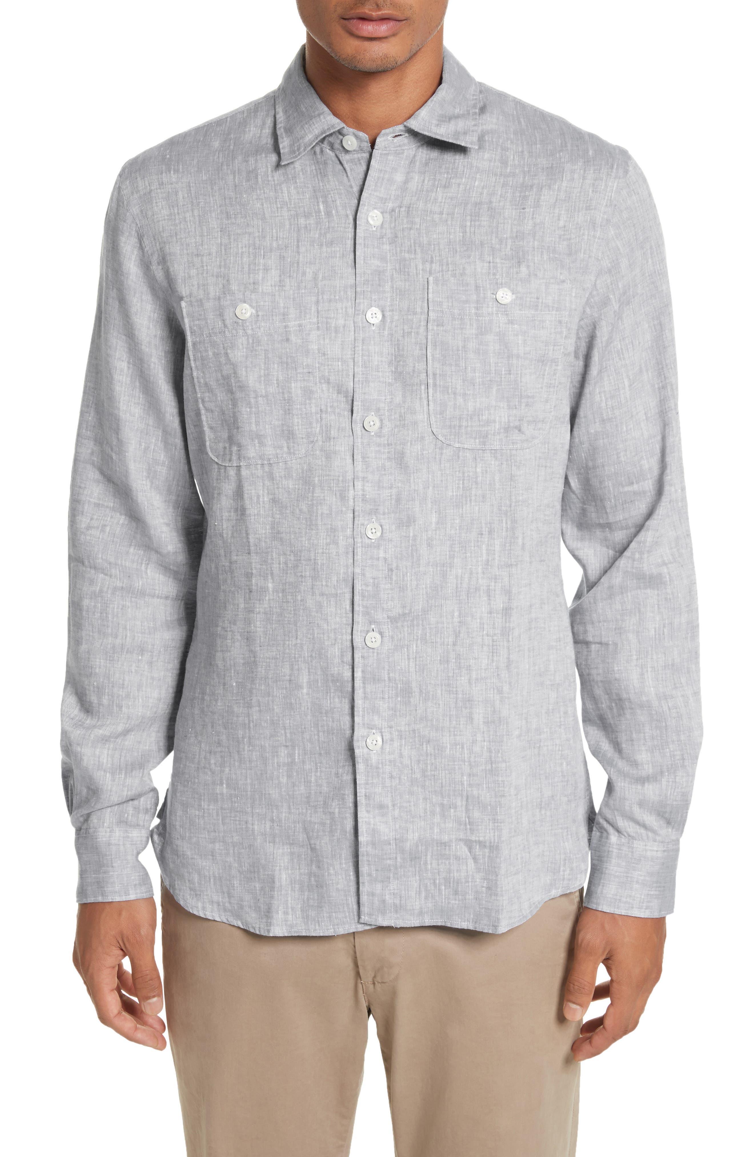Linen Shirt,                         Main,                         color, Light Grey