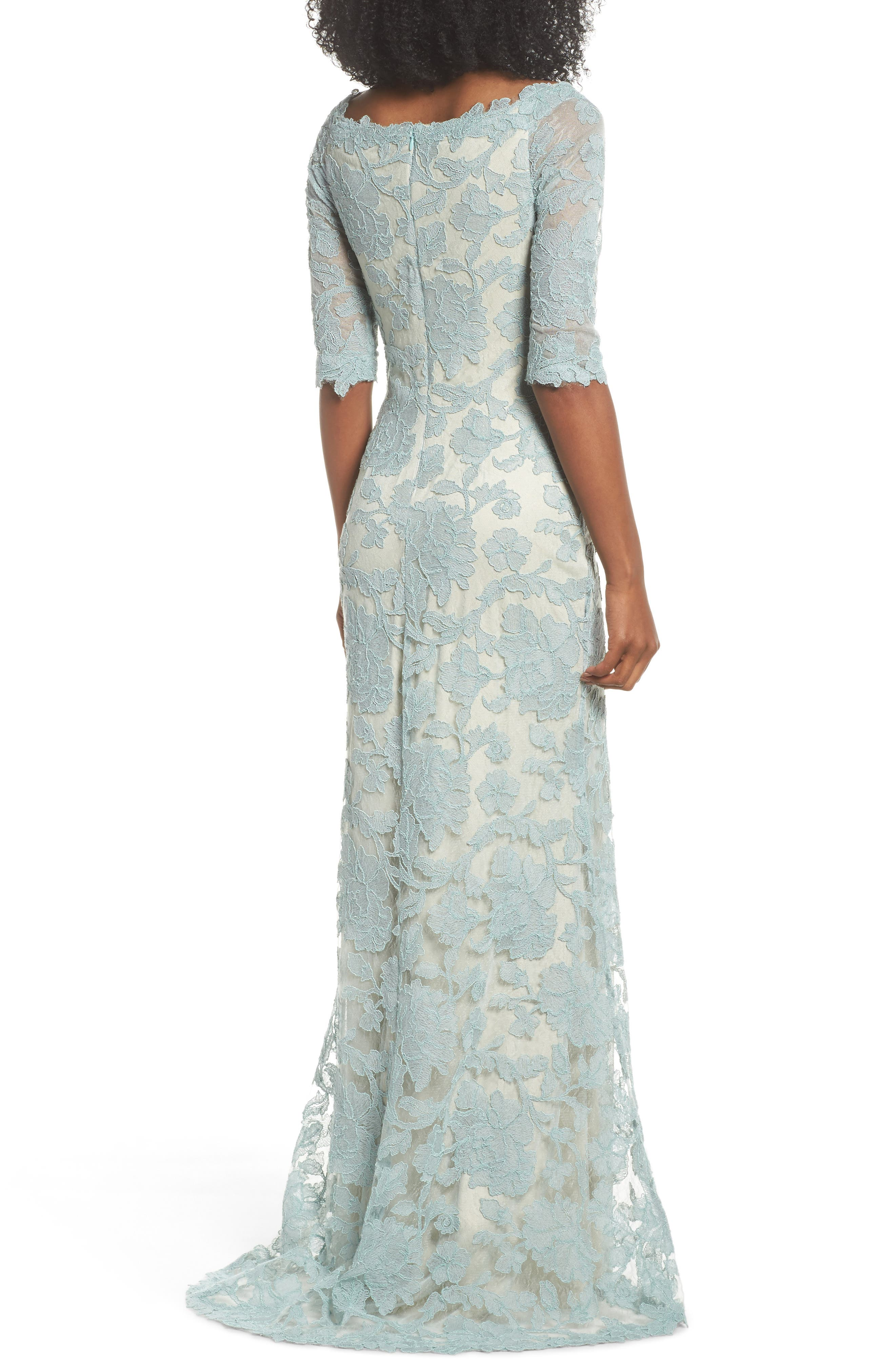 Embroidered Boat Neck Mermaid Gown,                             Alternate thumbnail 2, color,                             Mint/ Natural