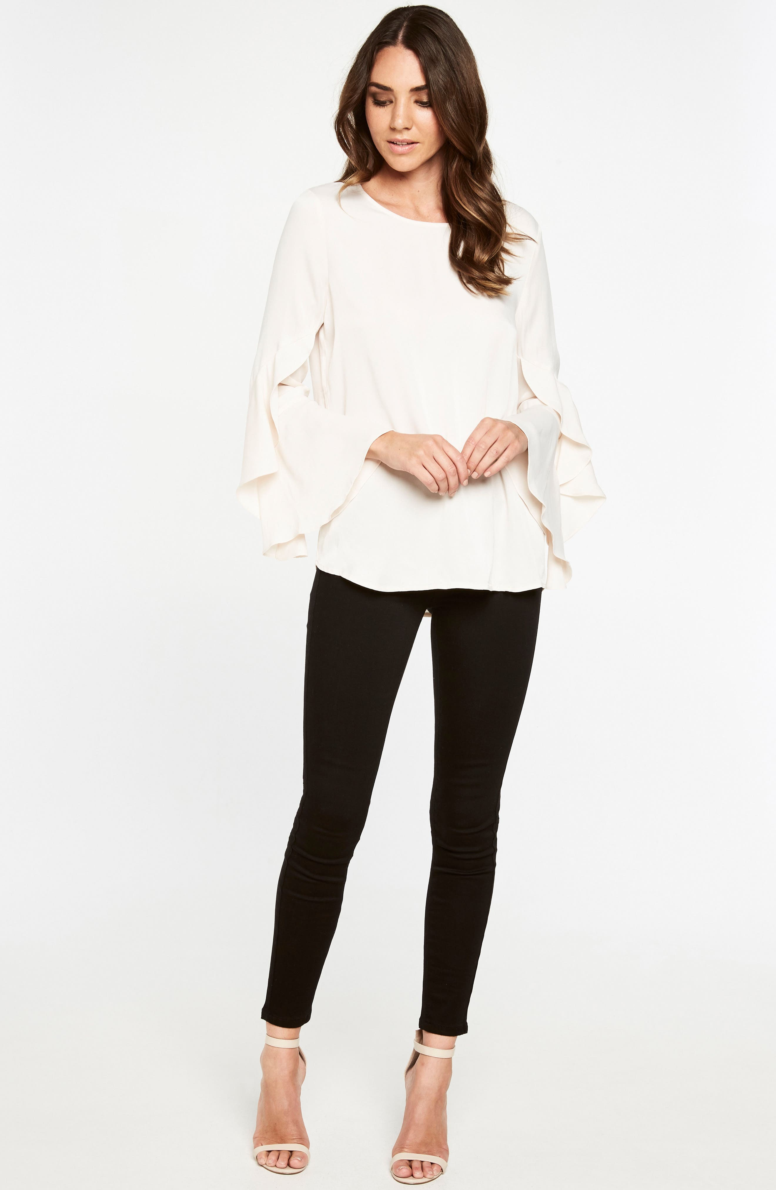 Bell Sleeve Top,                             Alternate thumbnail 5, color,                             Champagne