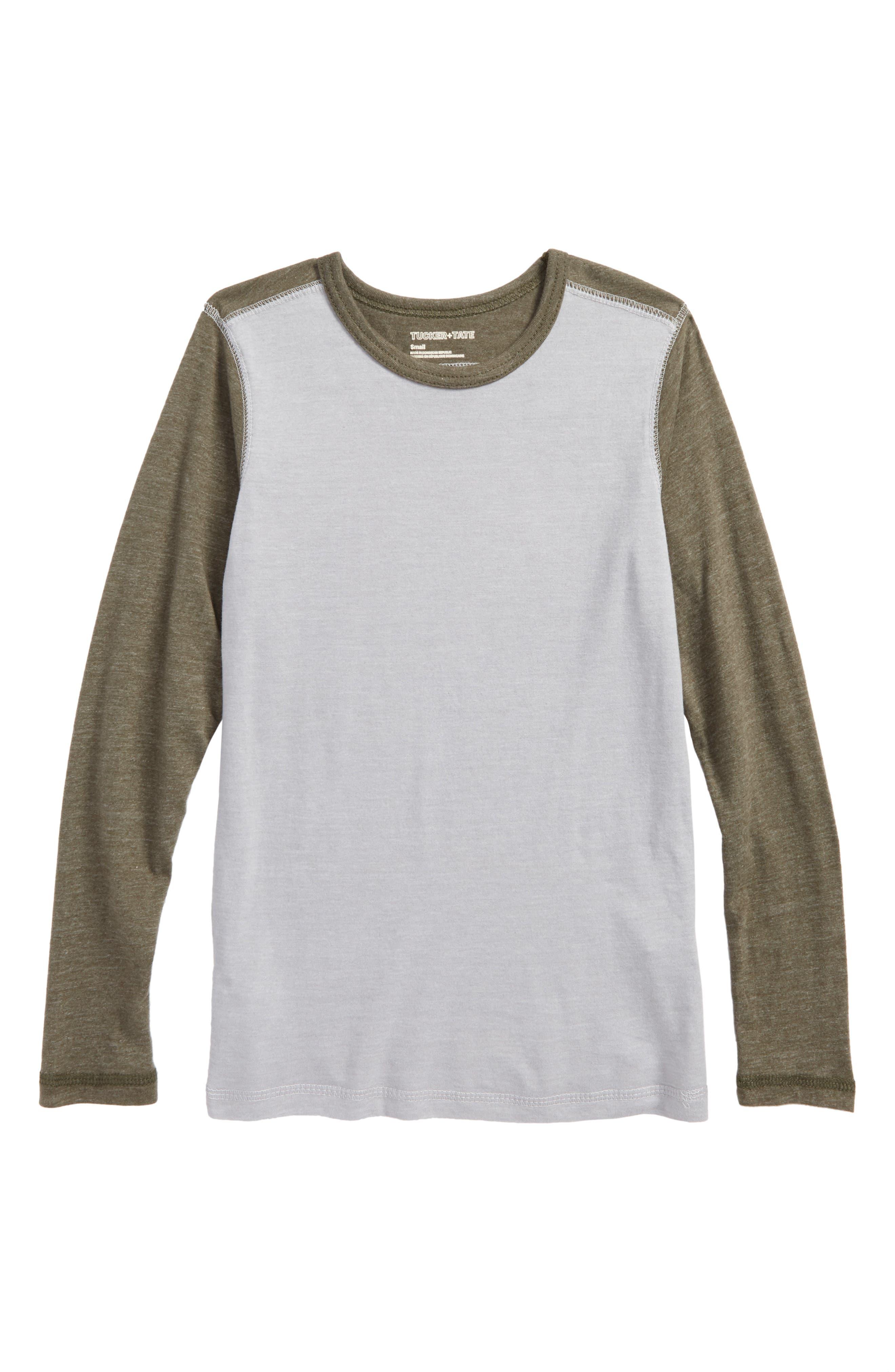 Colorblock Sleeve T-Shirt,                             Main thumbnail 1, color,                             Grey Alloy- Olive