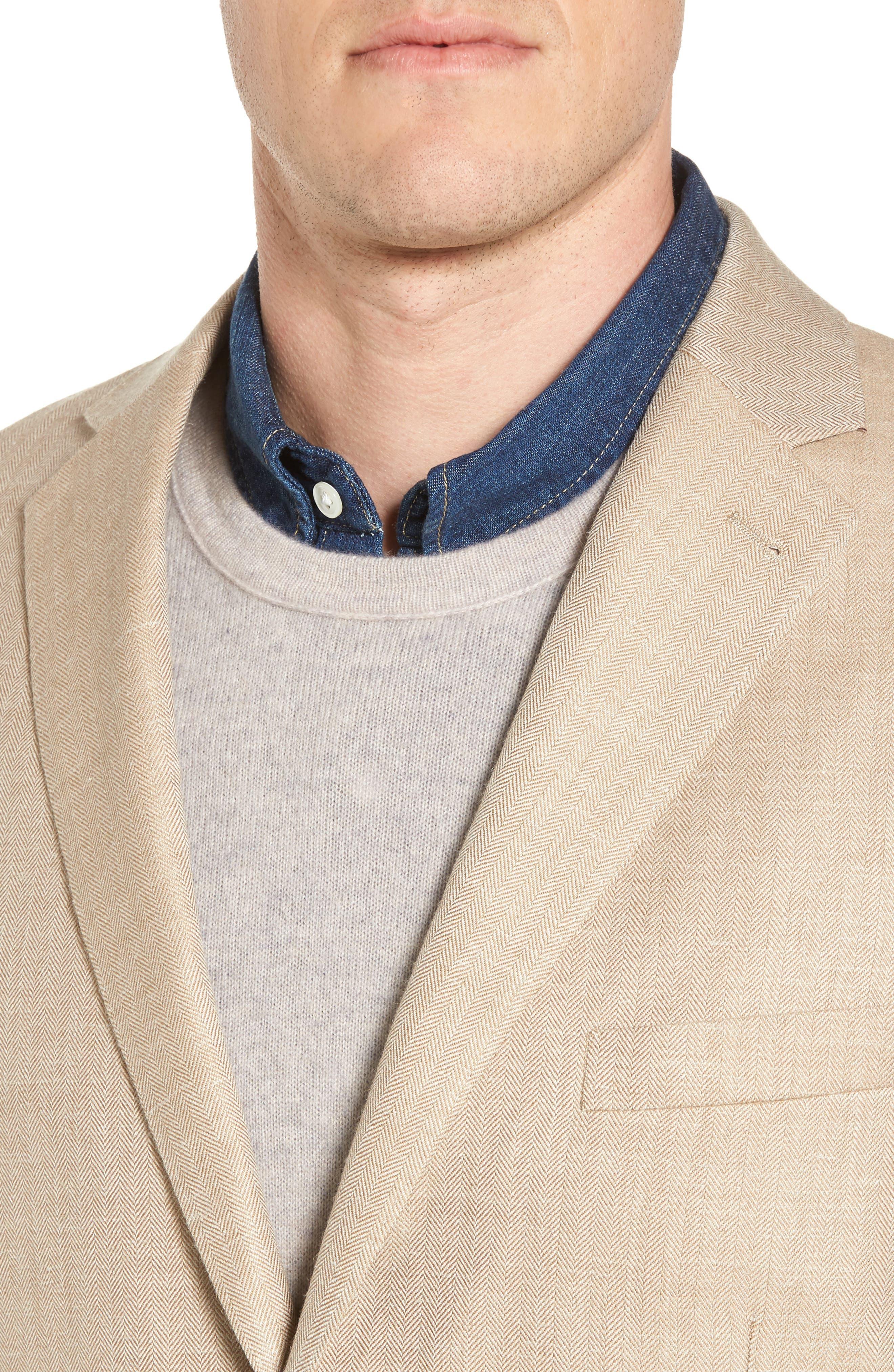 Crown Herringbone Wool & Silk Blend Jacket,                             Alternate thumbnail 4, color,                             Stone