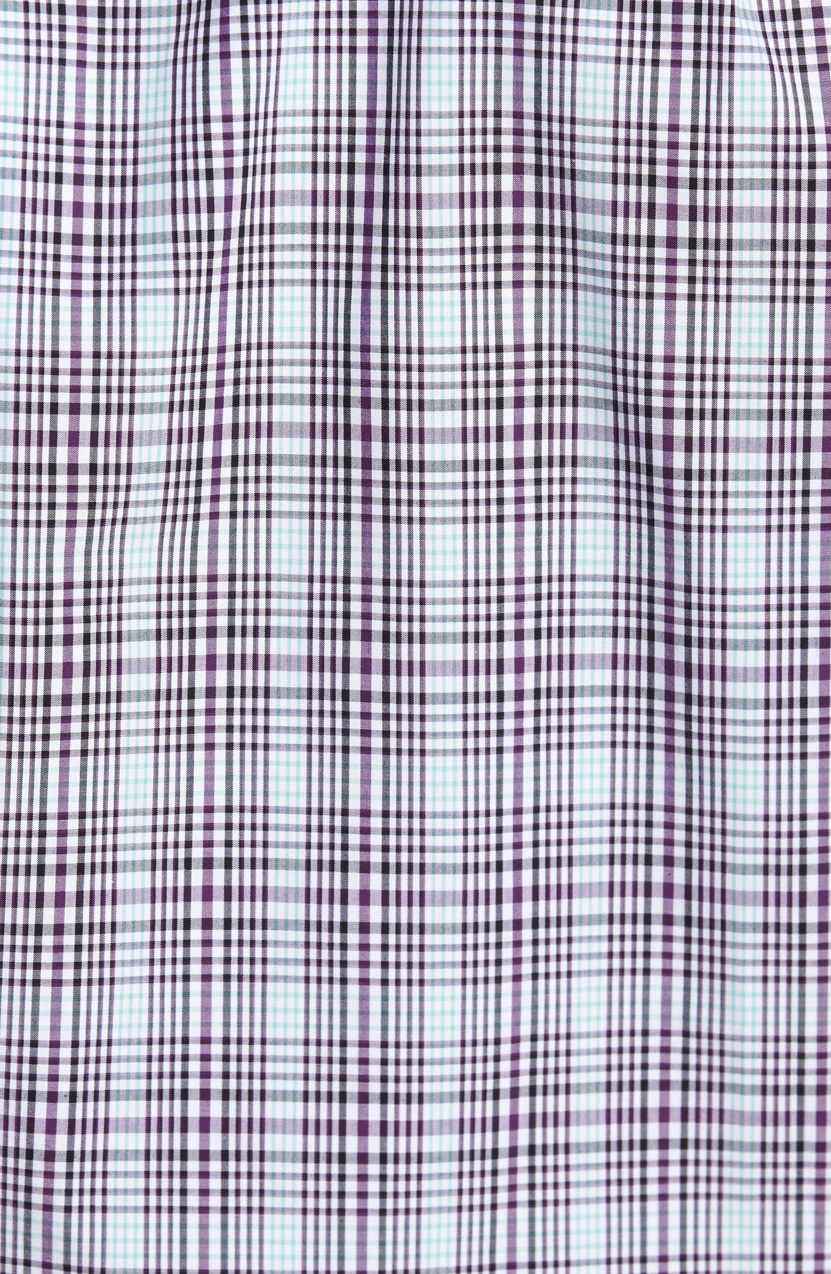 Hoyt Non-Iron Plaid Sport Shirt,                             Alternate thumbnail 5, color,                             Majesty