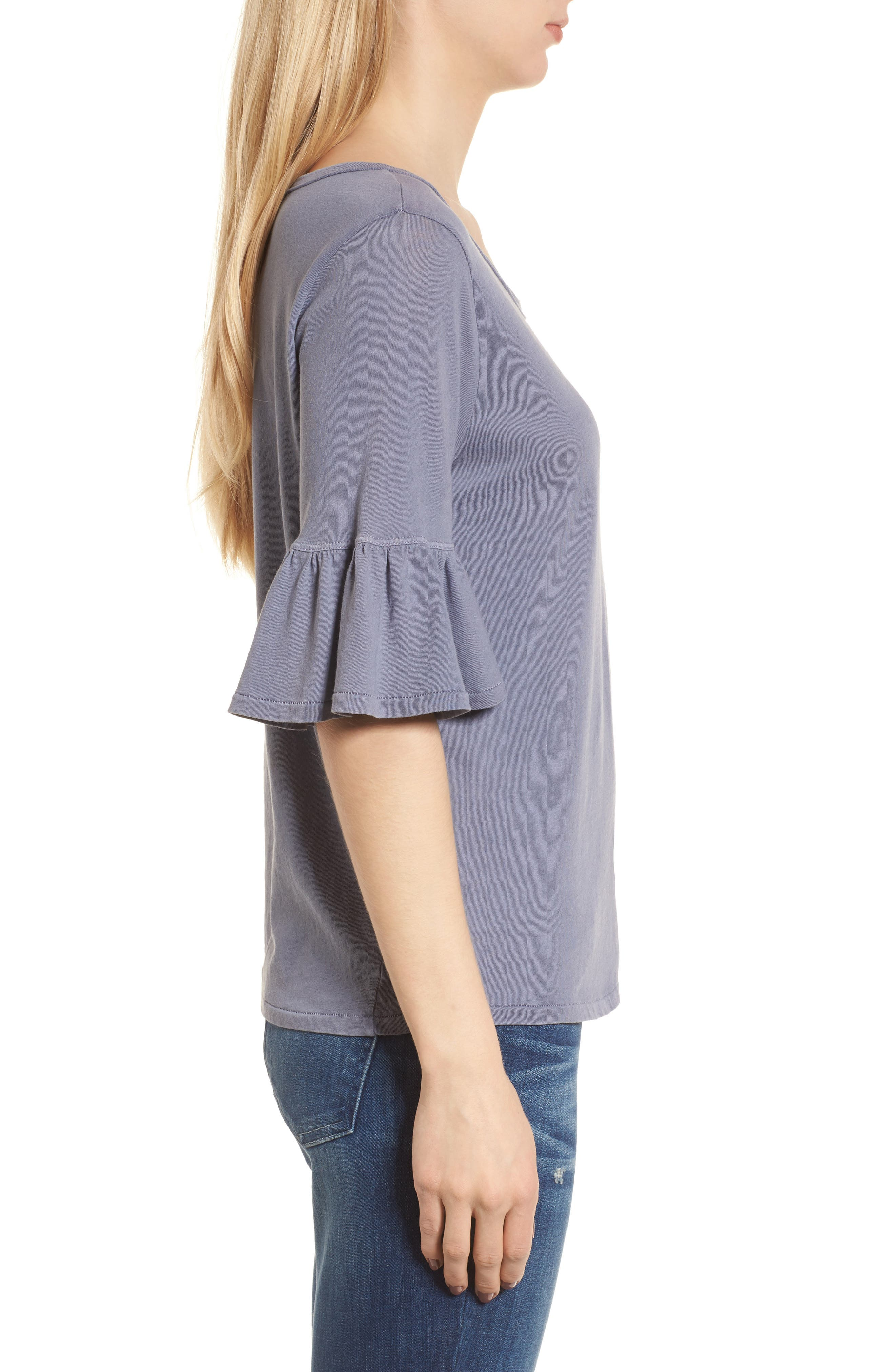 Ruffle Sleeve Knit Top,                             Alternate thumbnail 3, color,                             Shadow Purple