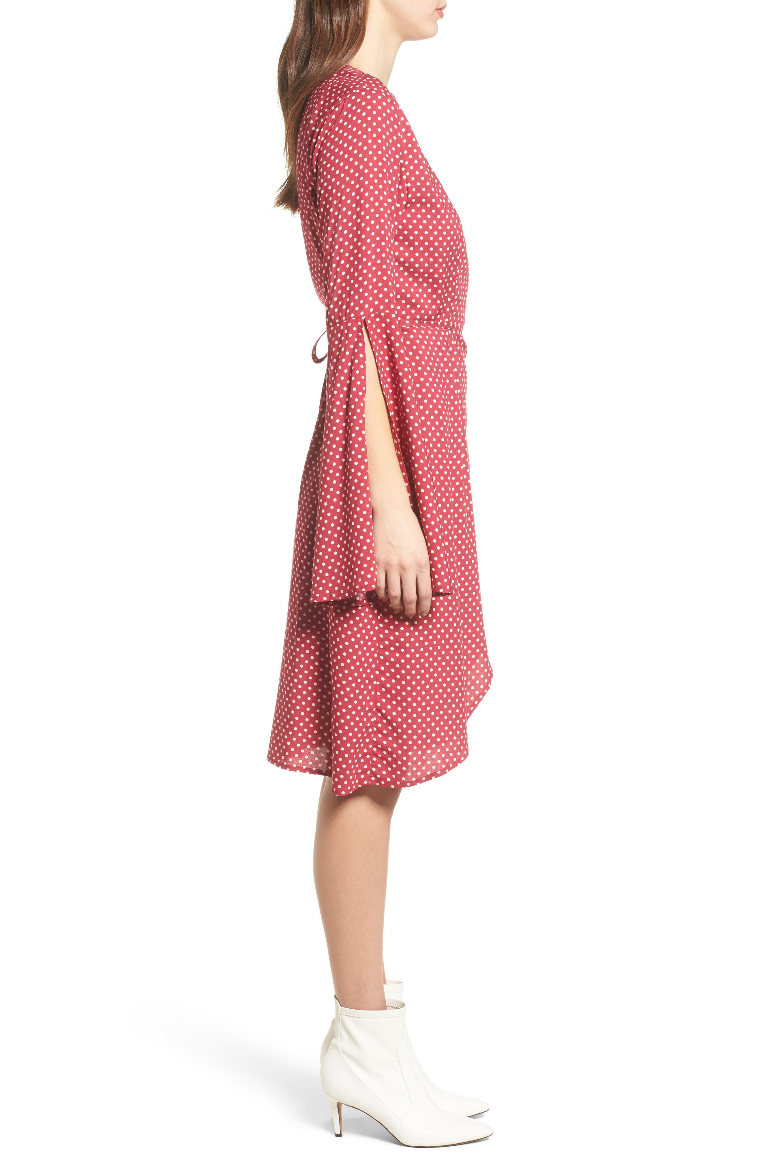 Fearless Polka Dot Wrap Dress,                             Alternate thumbnail 4, color,                             Multi Red