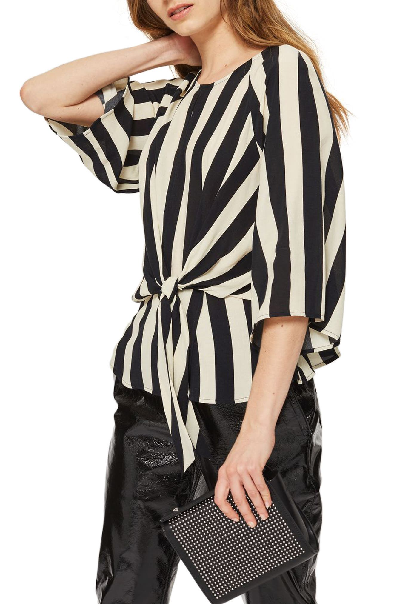 Humbug Stripe Slouch Knot Blouse,                         Main,                         color, Black Multi