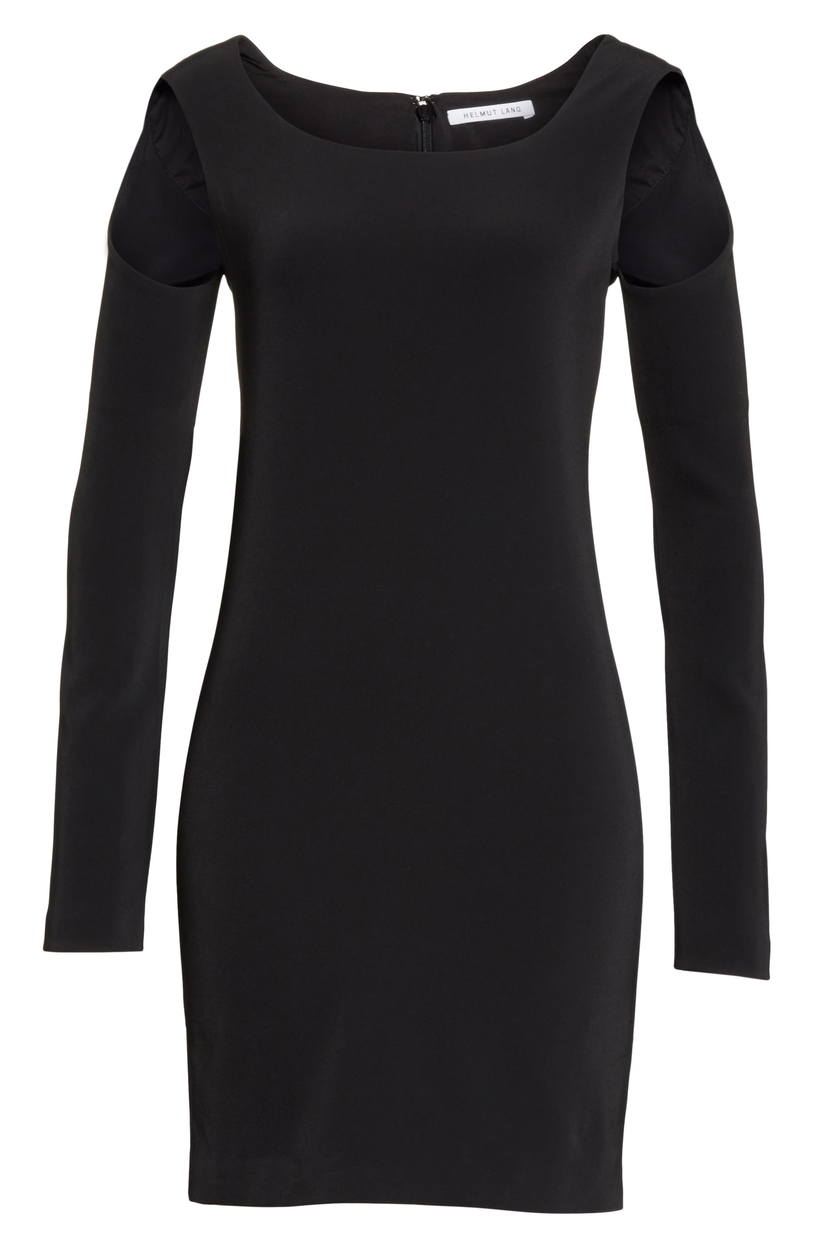 Cold Shoulder Sheath Dress,                             Alternate thumbnail 6, color,                             Black