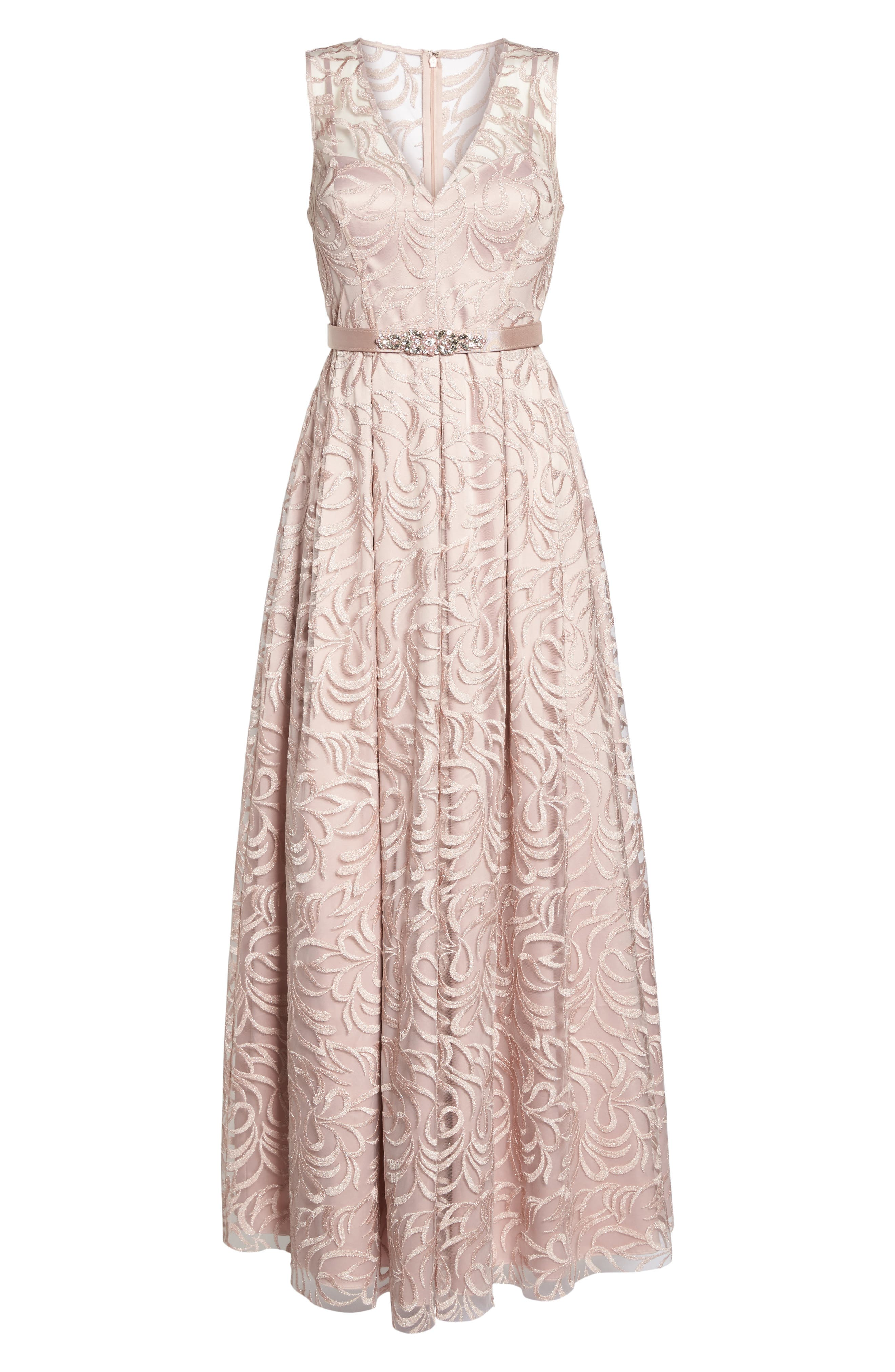 Belted Embroidered Gown,                             Alternate thumbnail 6, color,                             Blush