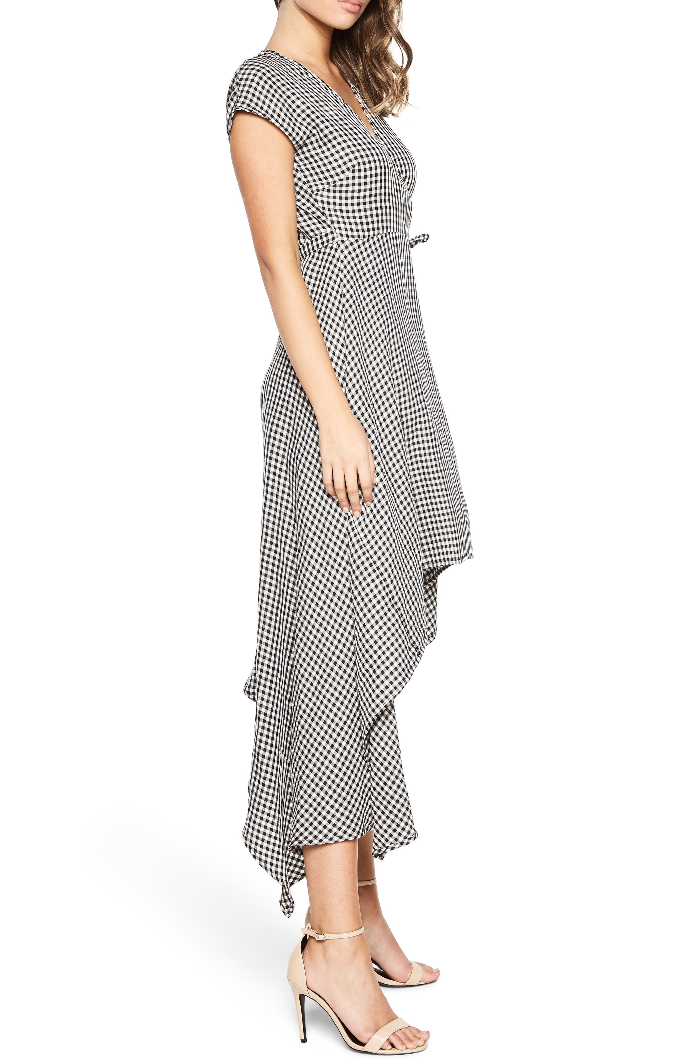 Check Asymmetrical Wrap Dress,                             Alternate thumbnail 4, color,                             Black/ White