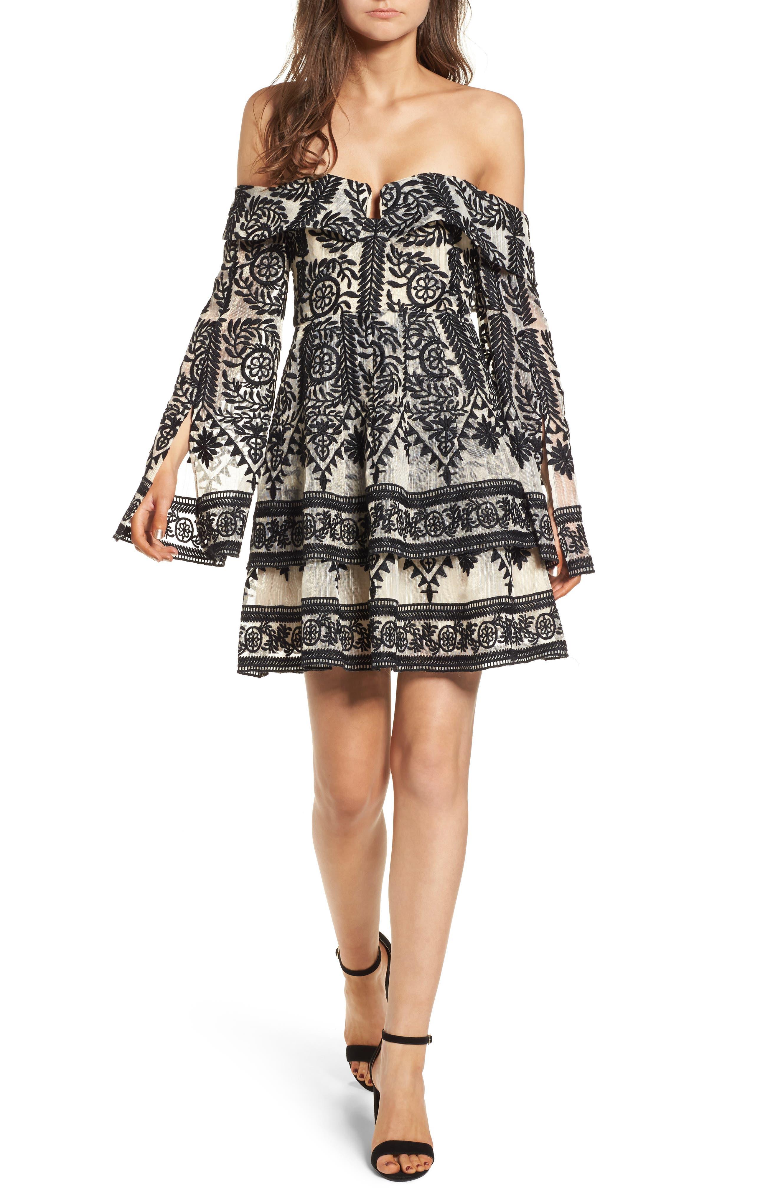 Antoinette Off the Shoulder Dress,                         Main,                         color, Black