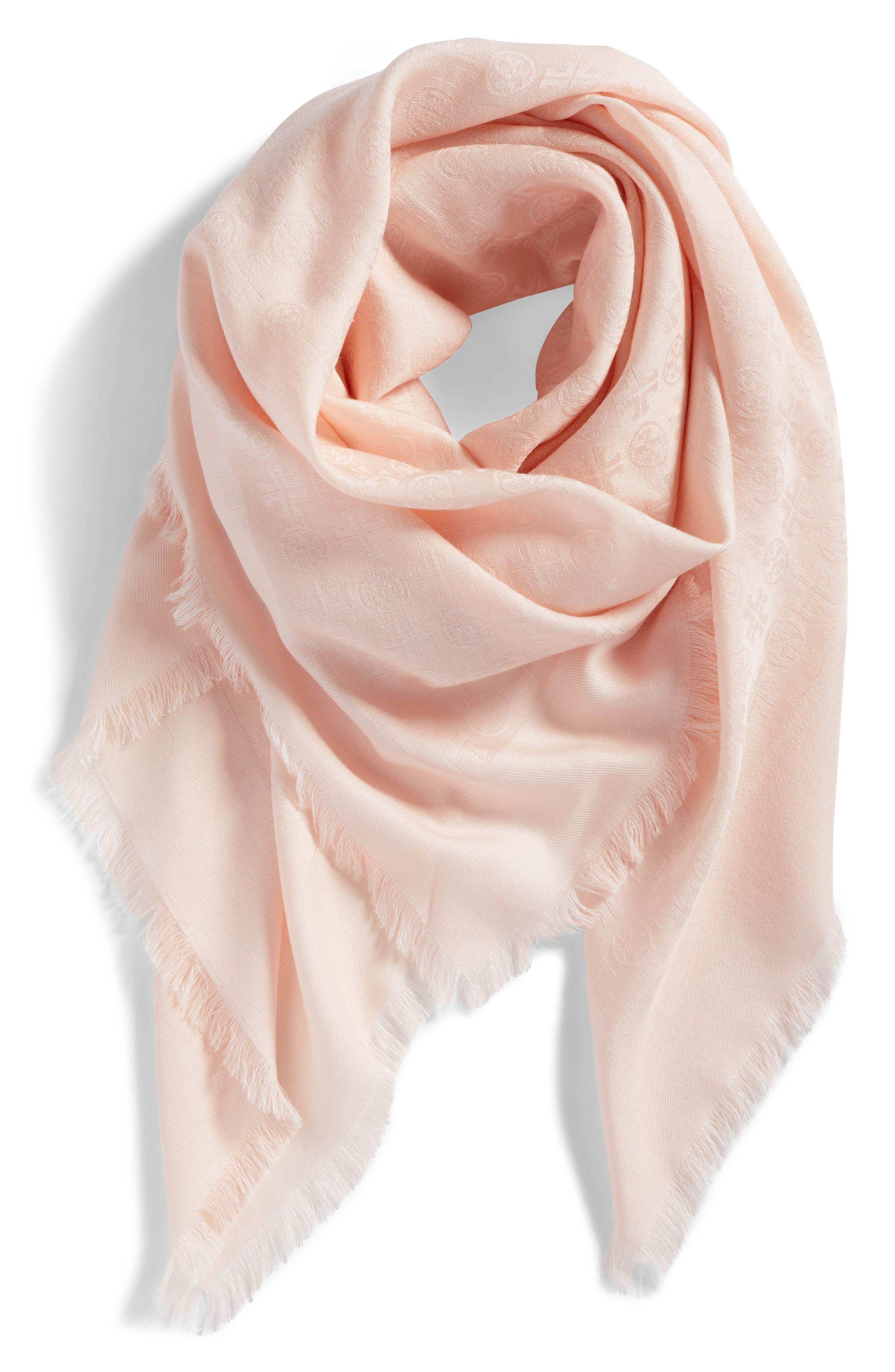 Traveler Logo Jacquard Wool & Silk Scarf,                             Alternate thumbnail 2, color,                             Ballet Pink