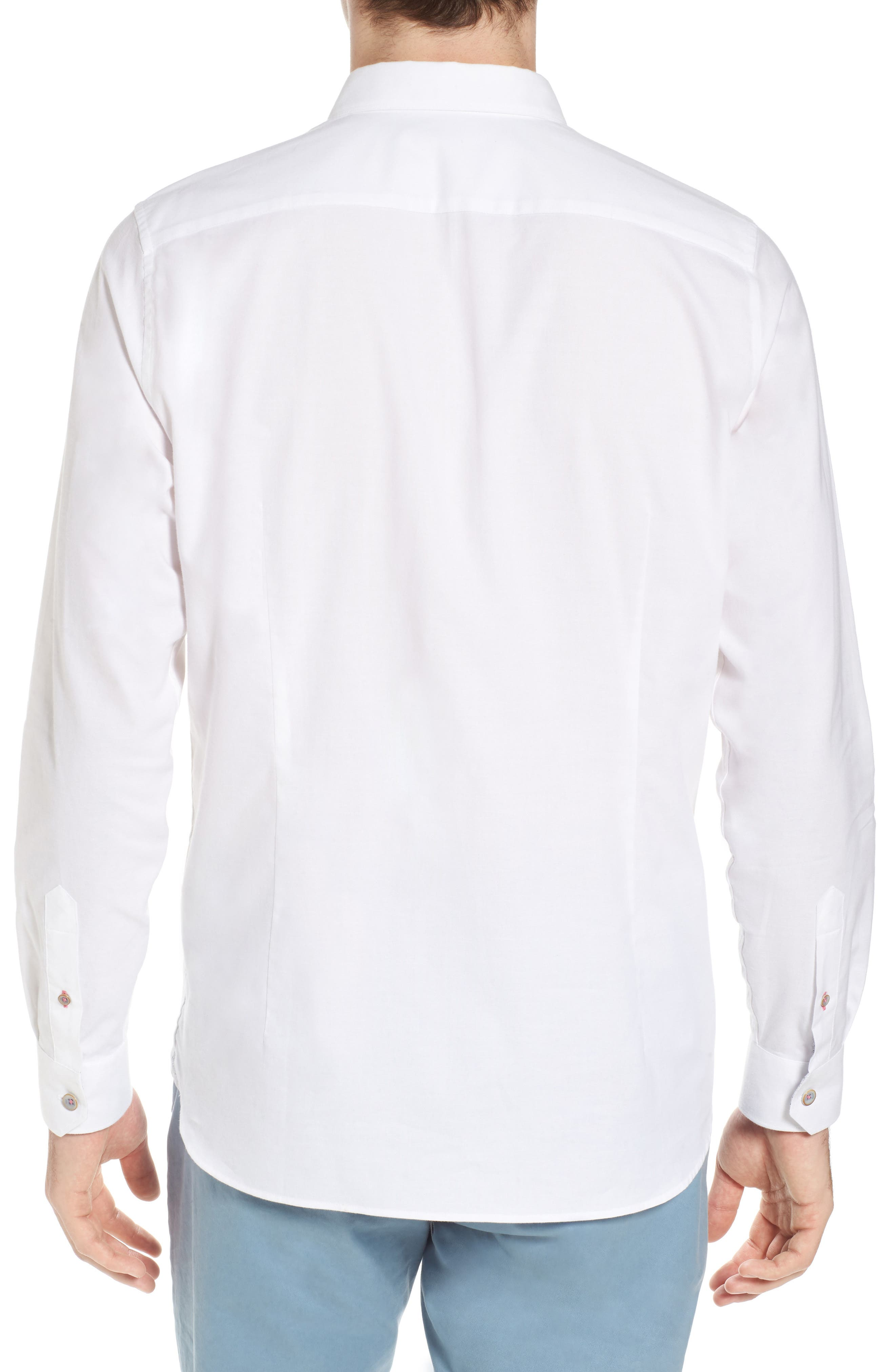 Slim Fit Textured Sport Shirt,                             Alternate thumbnail 3, color,                             White