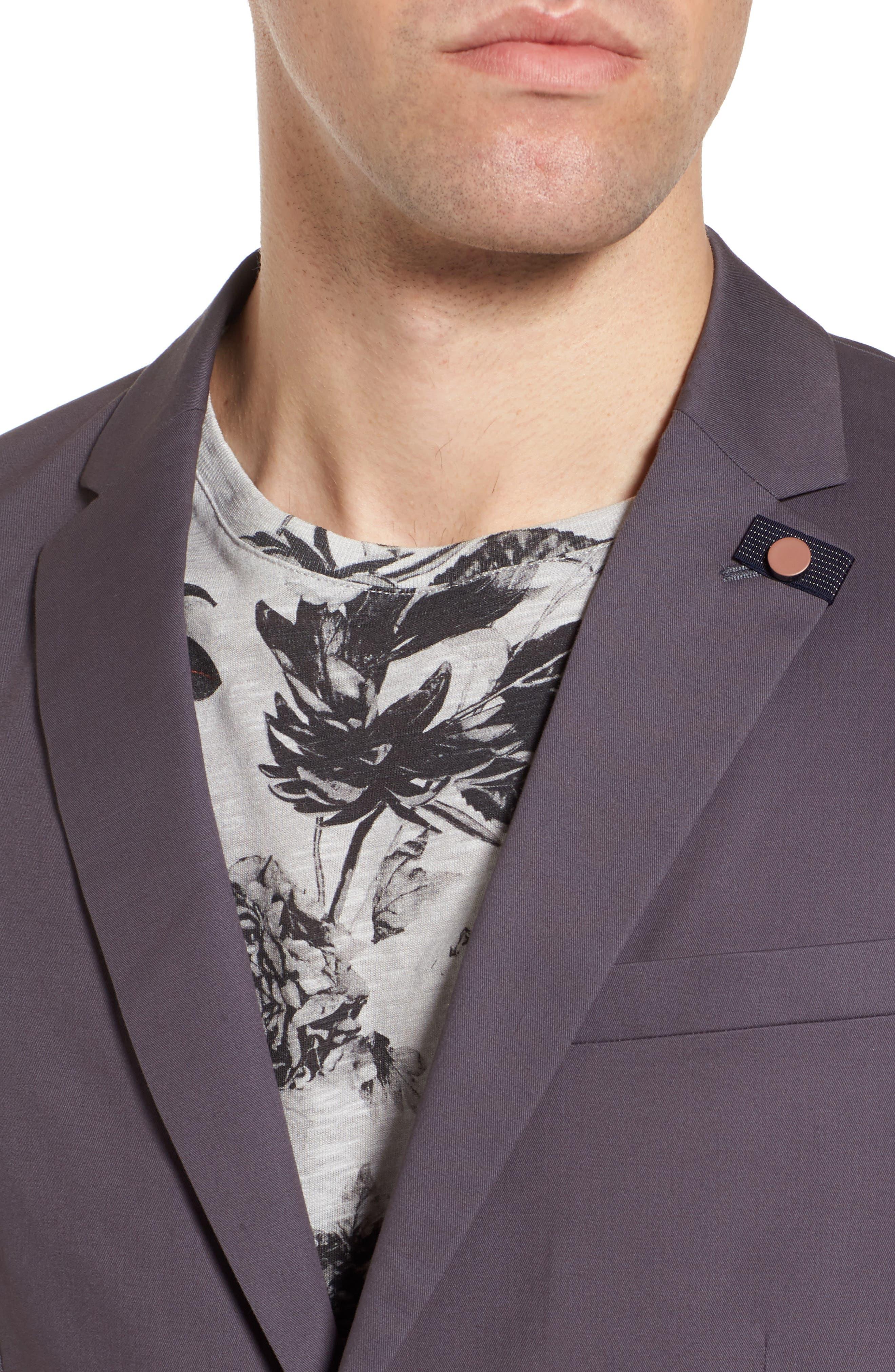 Cliford Trim Fit Stretch Cotton Blazer,                             Alternate thumbnail 4, color,                             Light Grey