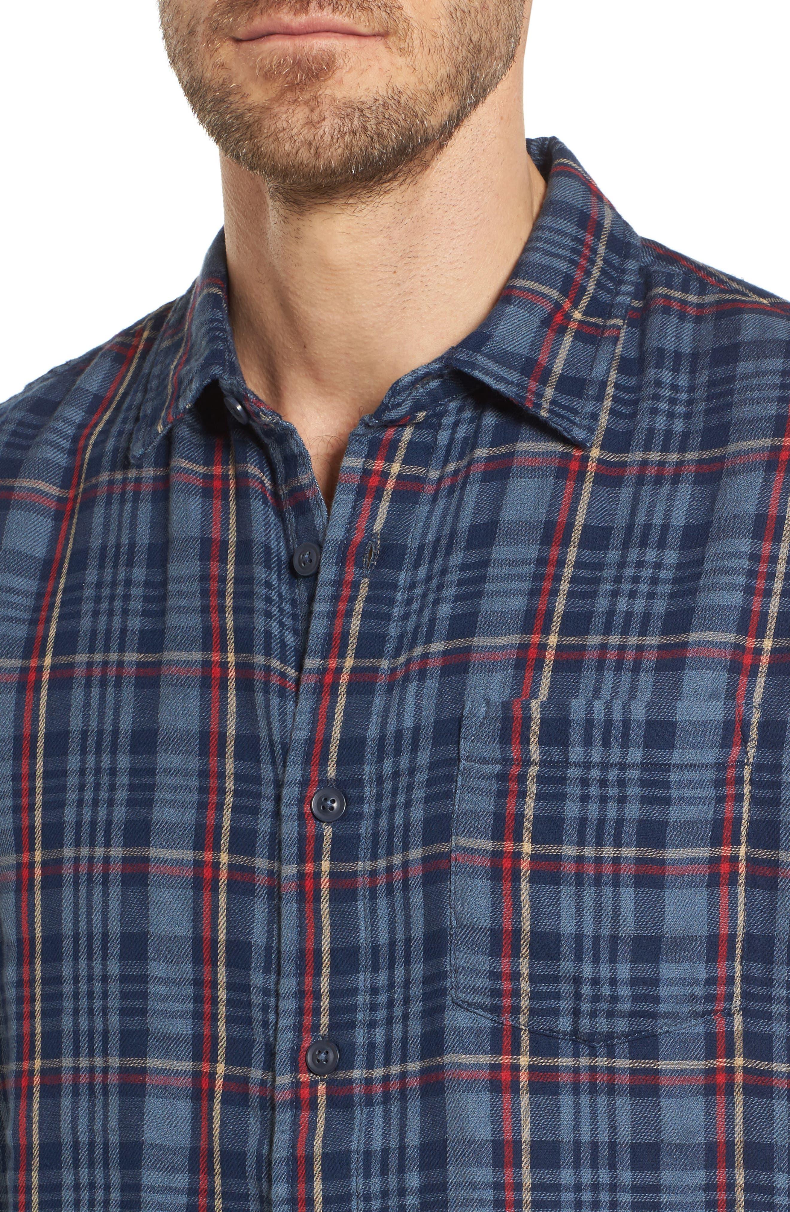 Alton Double Cloth Plaid Sport Shirt,                             Alternate thumbnail 4, color,                             Navy Grey Plaid