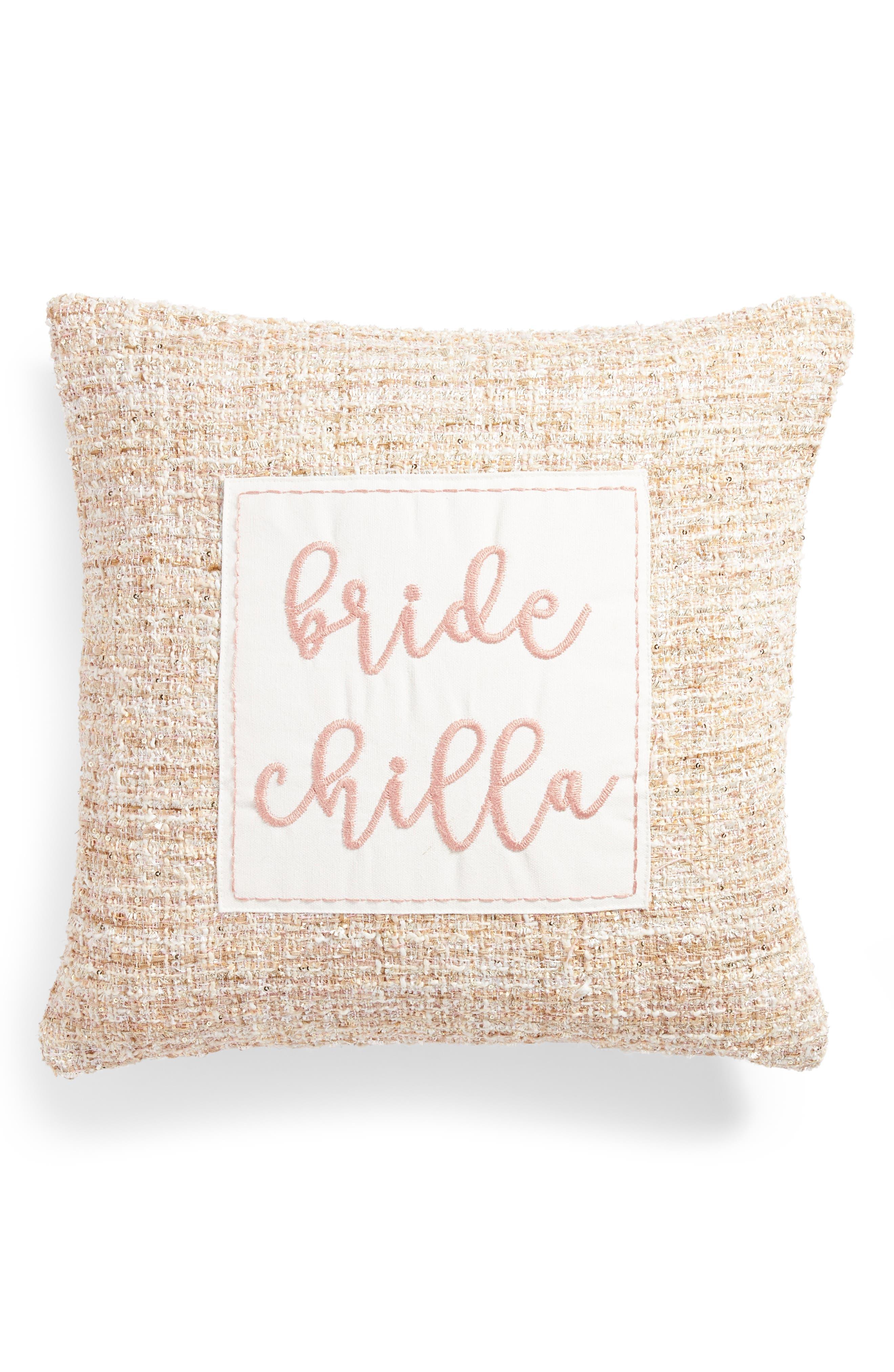 Bride Chilla Accent Pillow,                             Main thumbnail 1, color,                             Blush