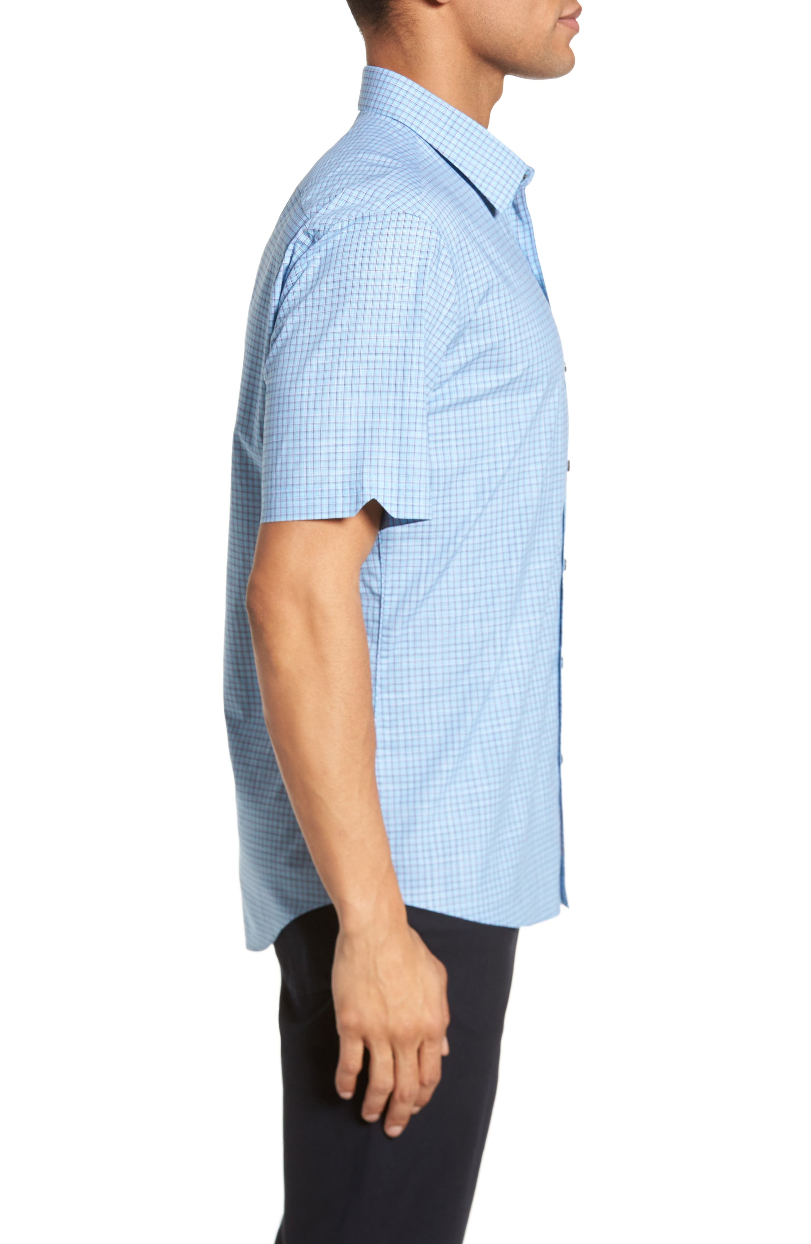 Dunleavy Check Sport Shirt,                             Alternate thumbnail 3, color,                             Blue