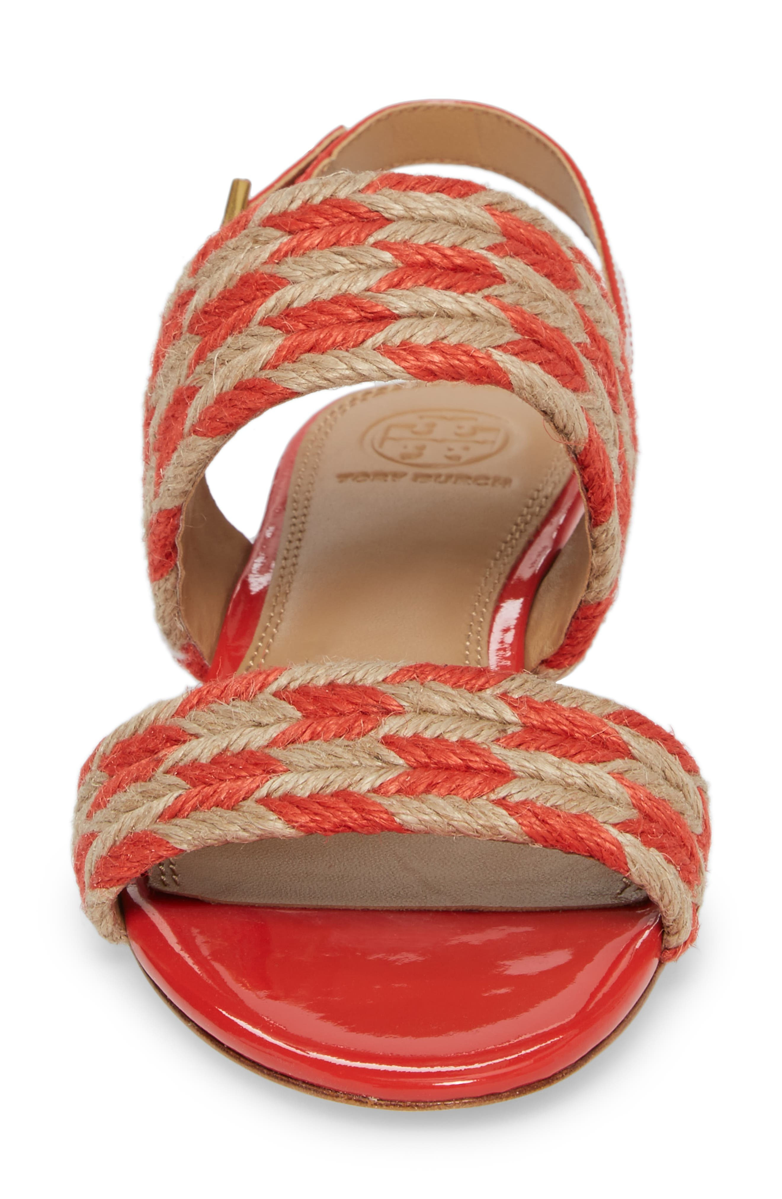 Lola Slingback Sandal,                             Alternate thumbnail 4, color,                             Poppy Orange/ Perfect Ivory