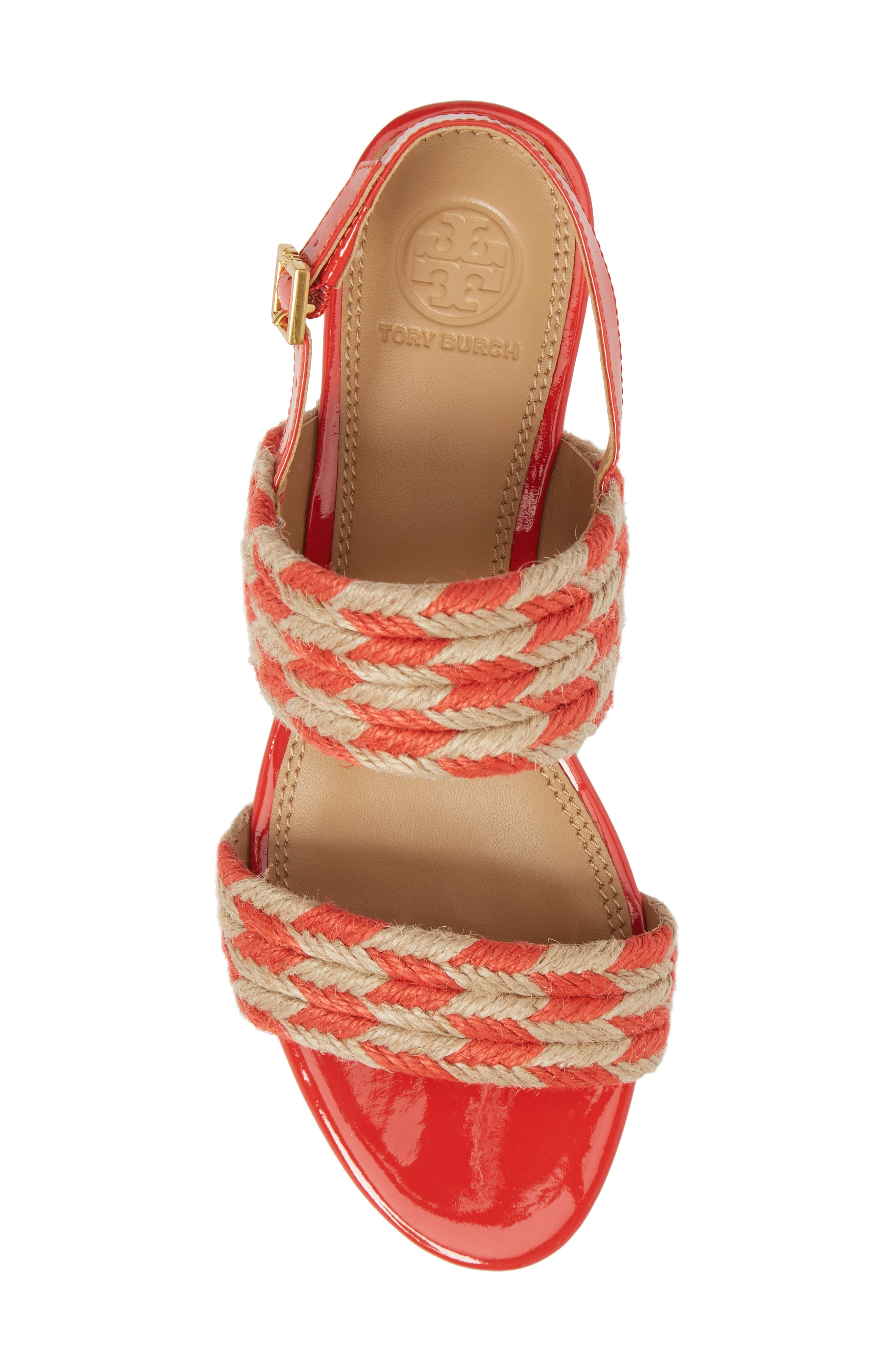 Lola Slingback Sandal,                             Alternate thumbnail 5, color,                             Poppy Orange/ Perfect Ivory