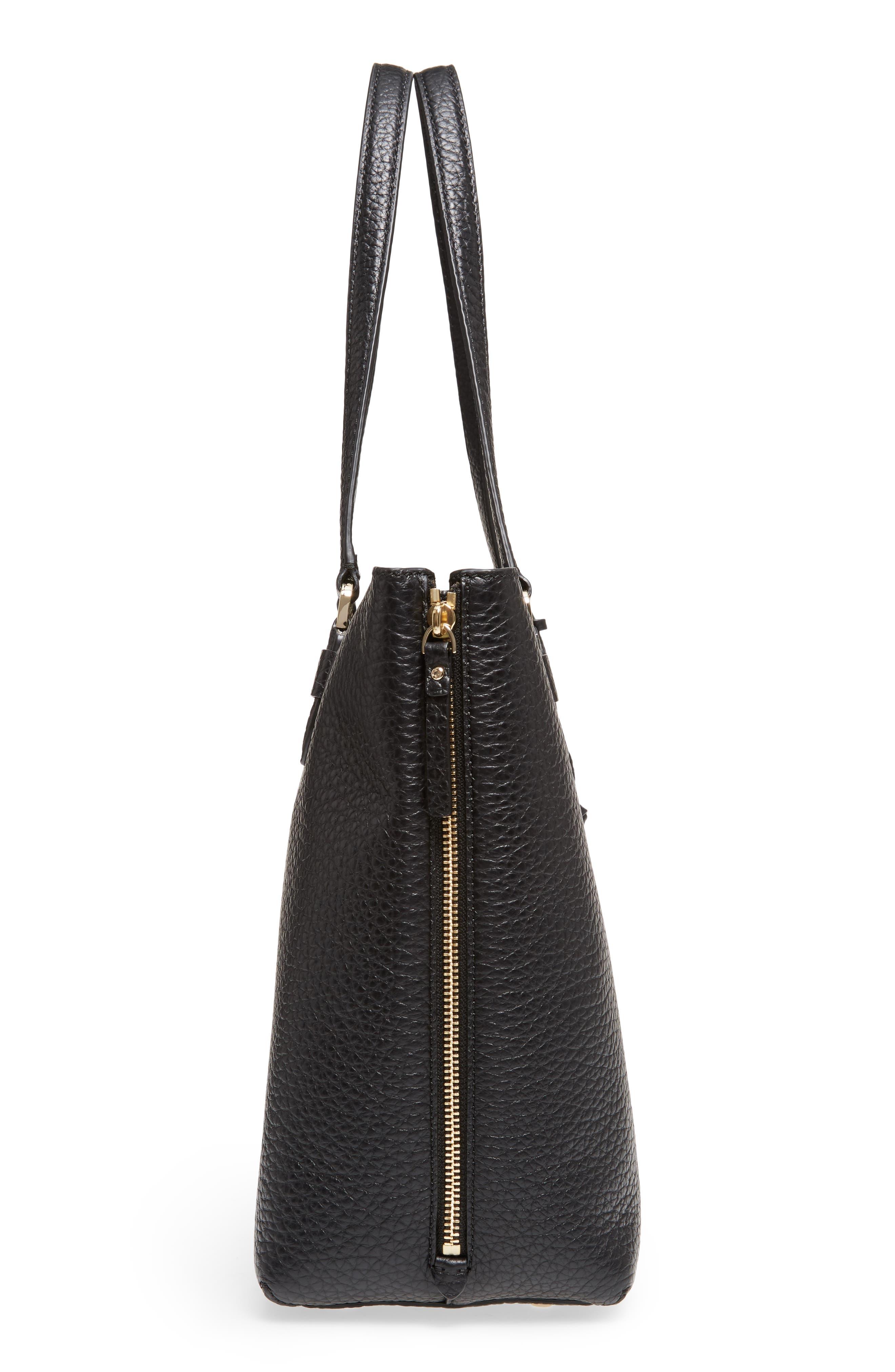 carter street - selena leather tote,                             Alternate thumbnail 5, color,                             Black