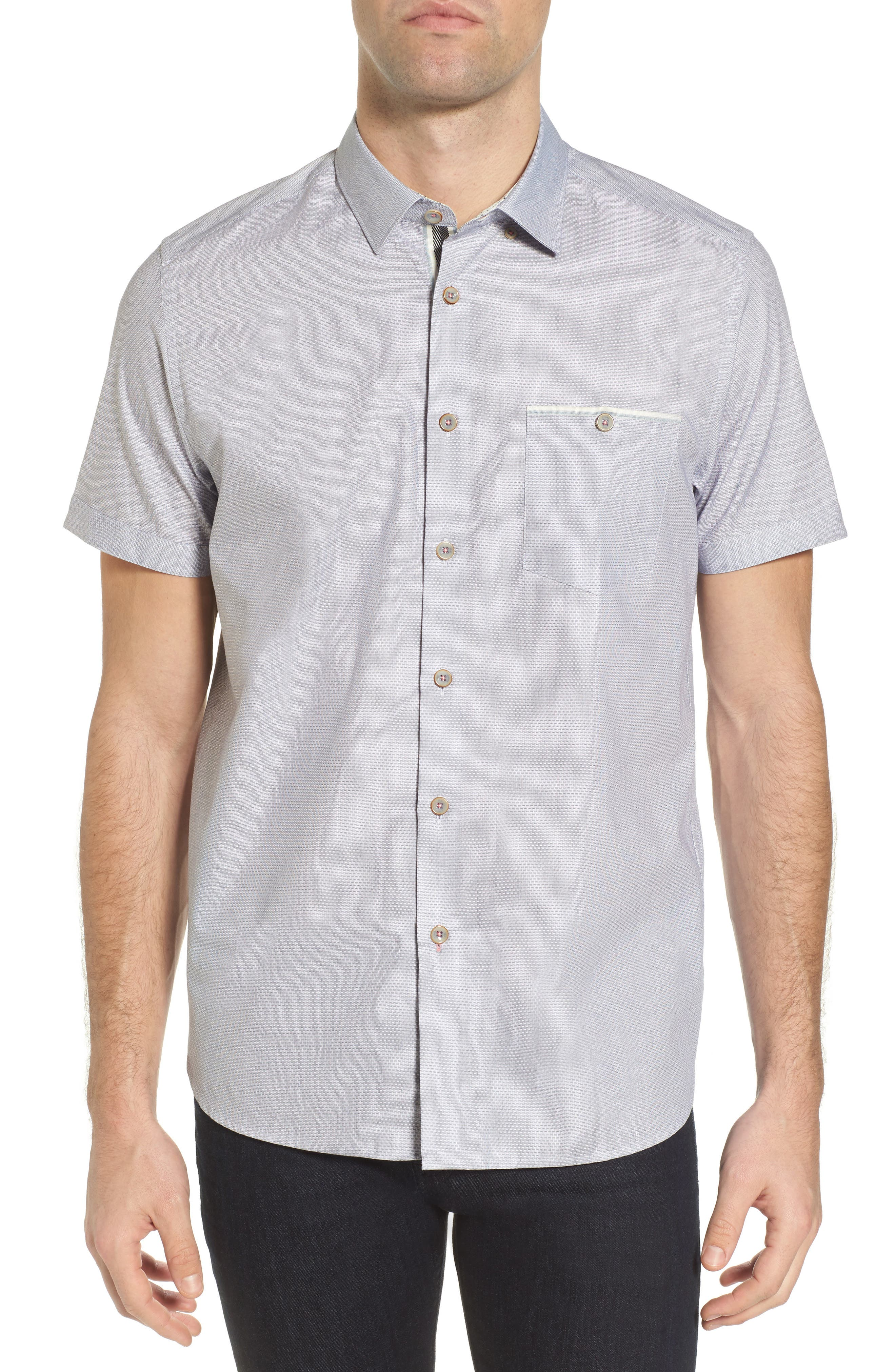 Wonky Trim Fit Oxford Sport Shirt,                         Main,                         color, White