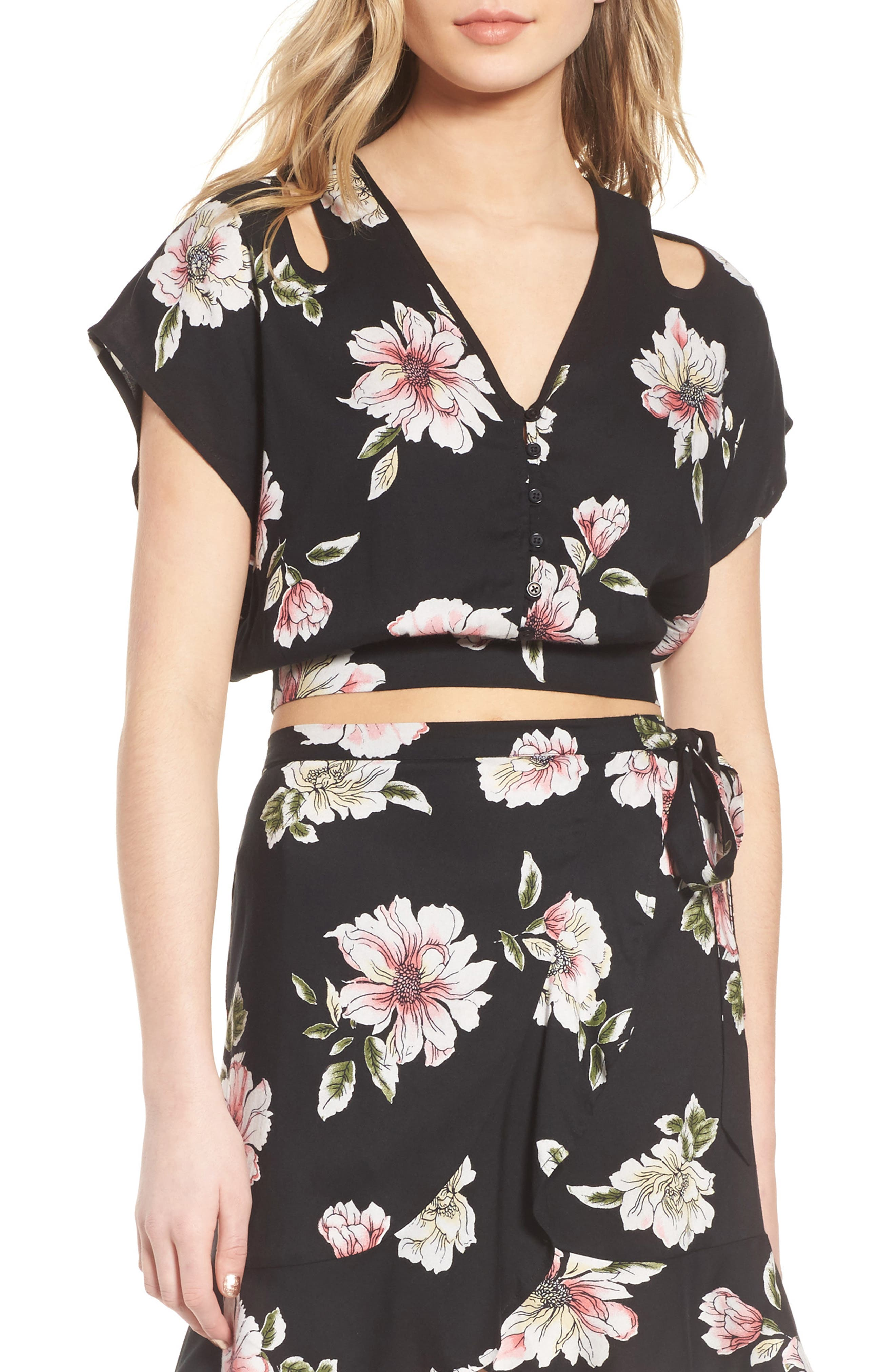 Main Image - Band of Gypsies Hibiscus Cutout Crop Top