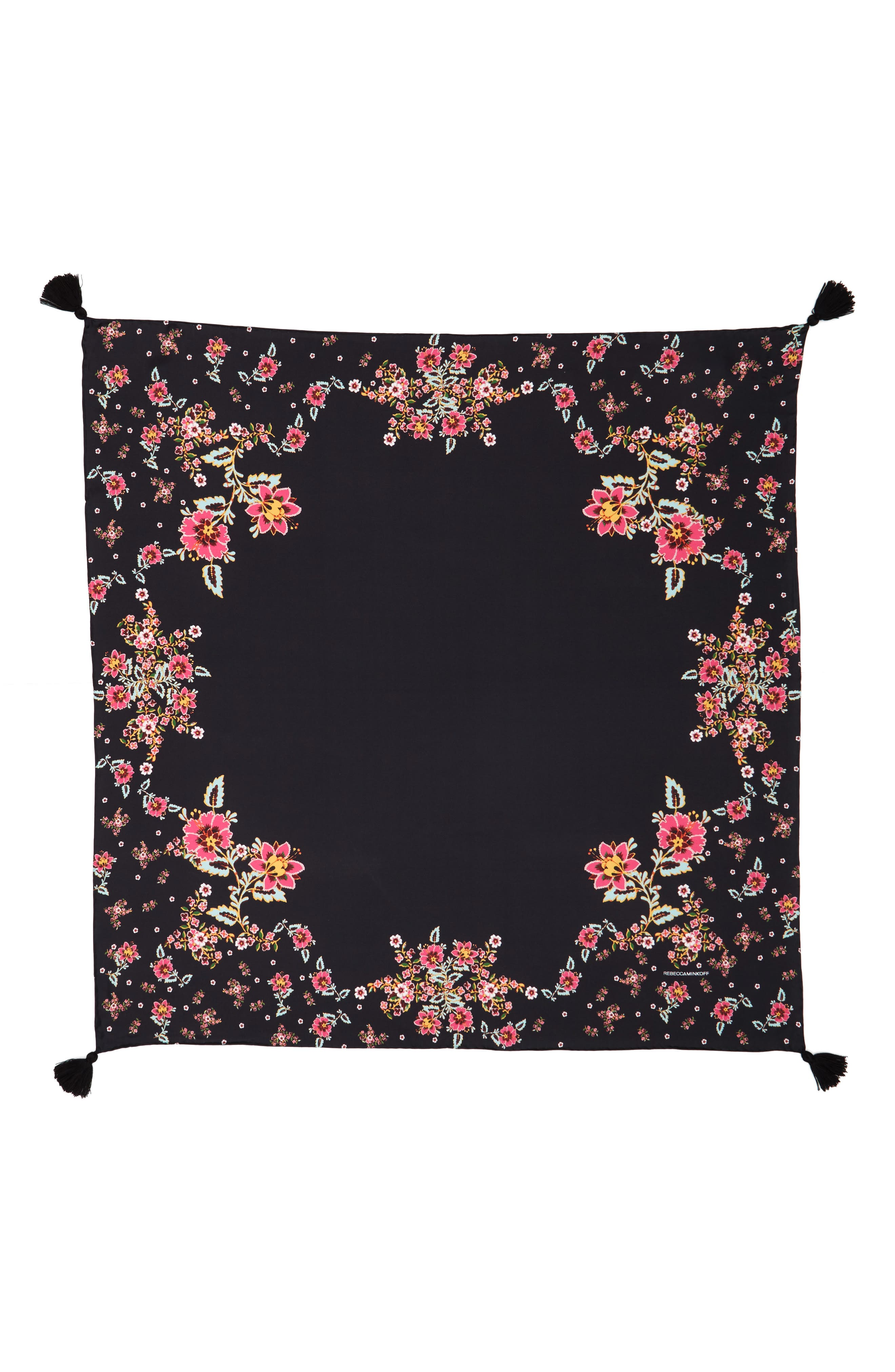 Mixed Floral Silk Square Scarf,                             Alternate thumbnail 2, color,                             Black