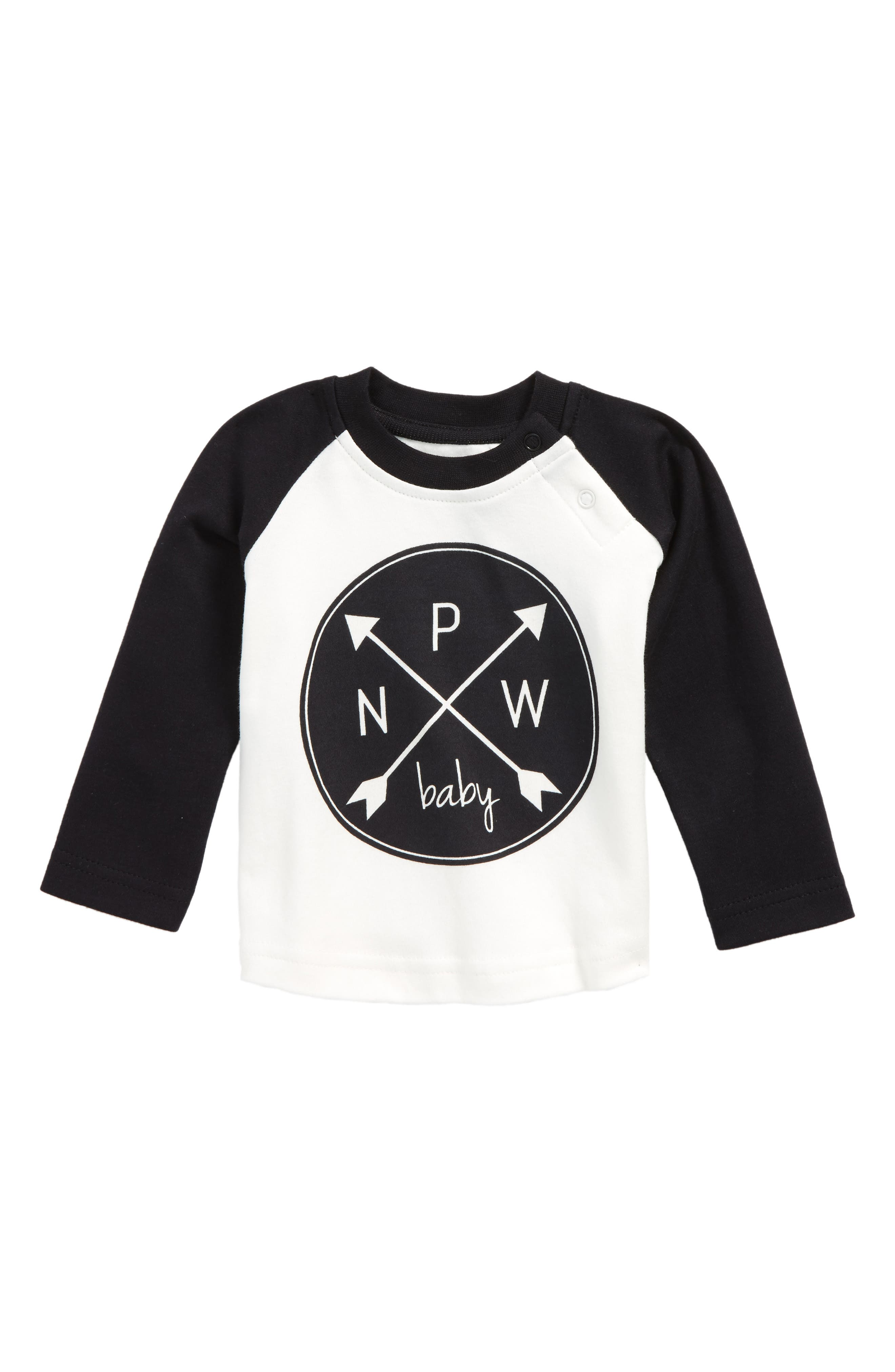 PNW Logo Organic Cotton T-Shirt,                         Main,                         color, Black/ Offwhite