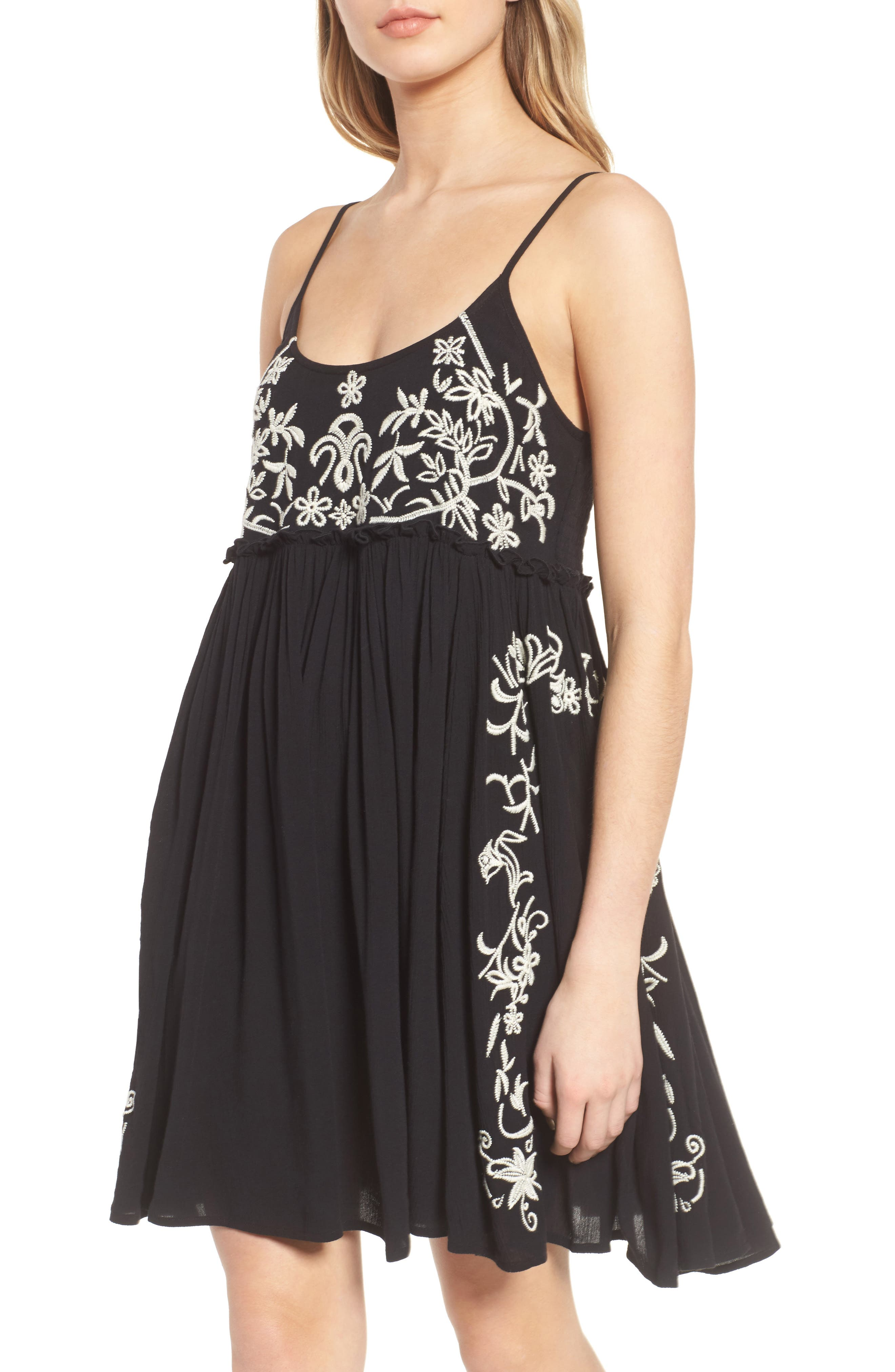 Embroidered Babydoll Dress,                             Alternate thumbnail 2, color,                             Black/ Ivory