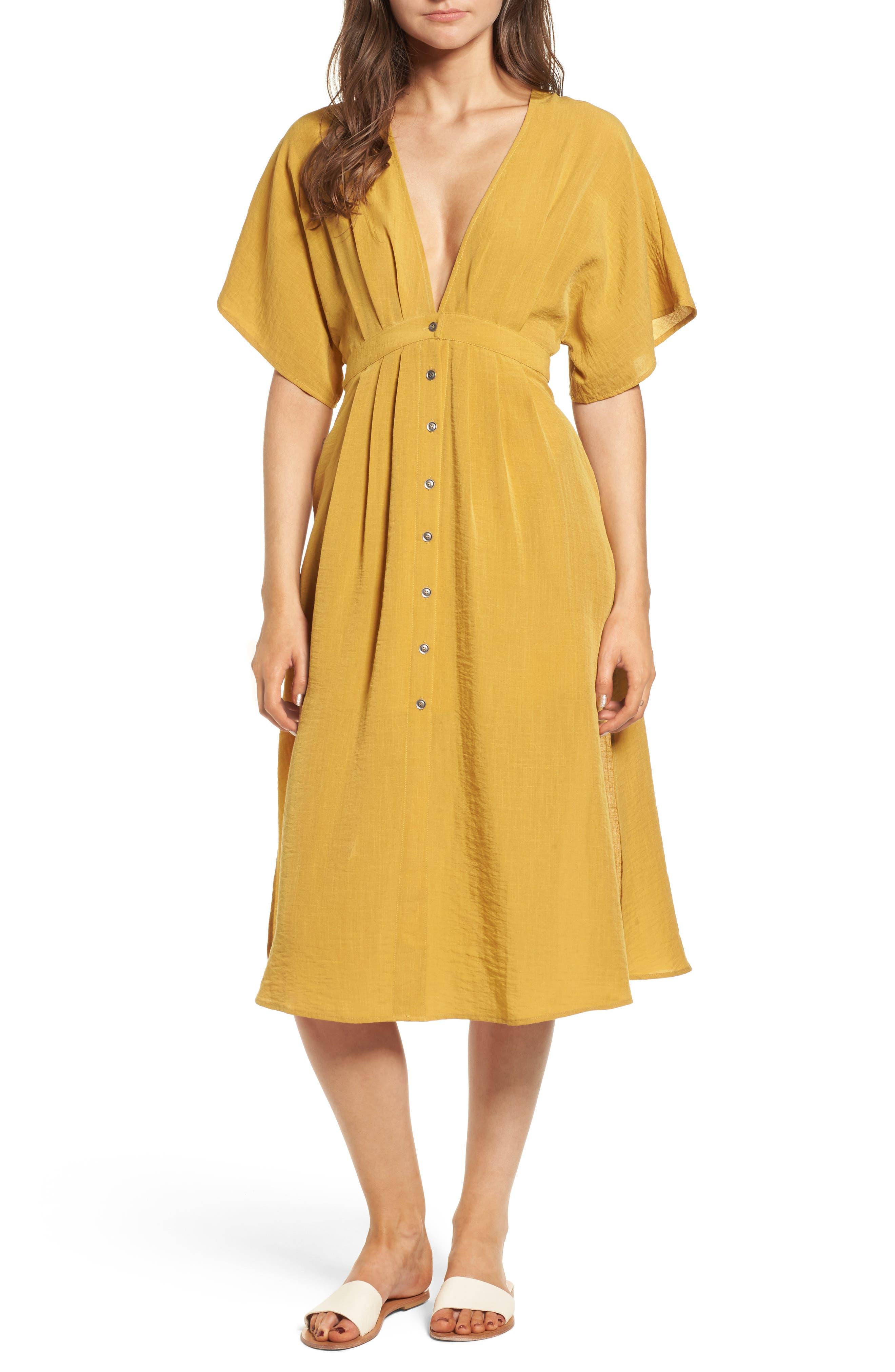 Poppy Button Front Midi Dress,                             Main thumbnail 1, color,                             Mustard